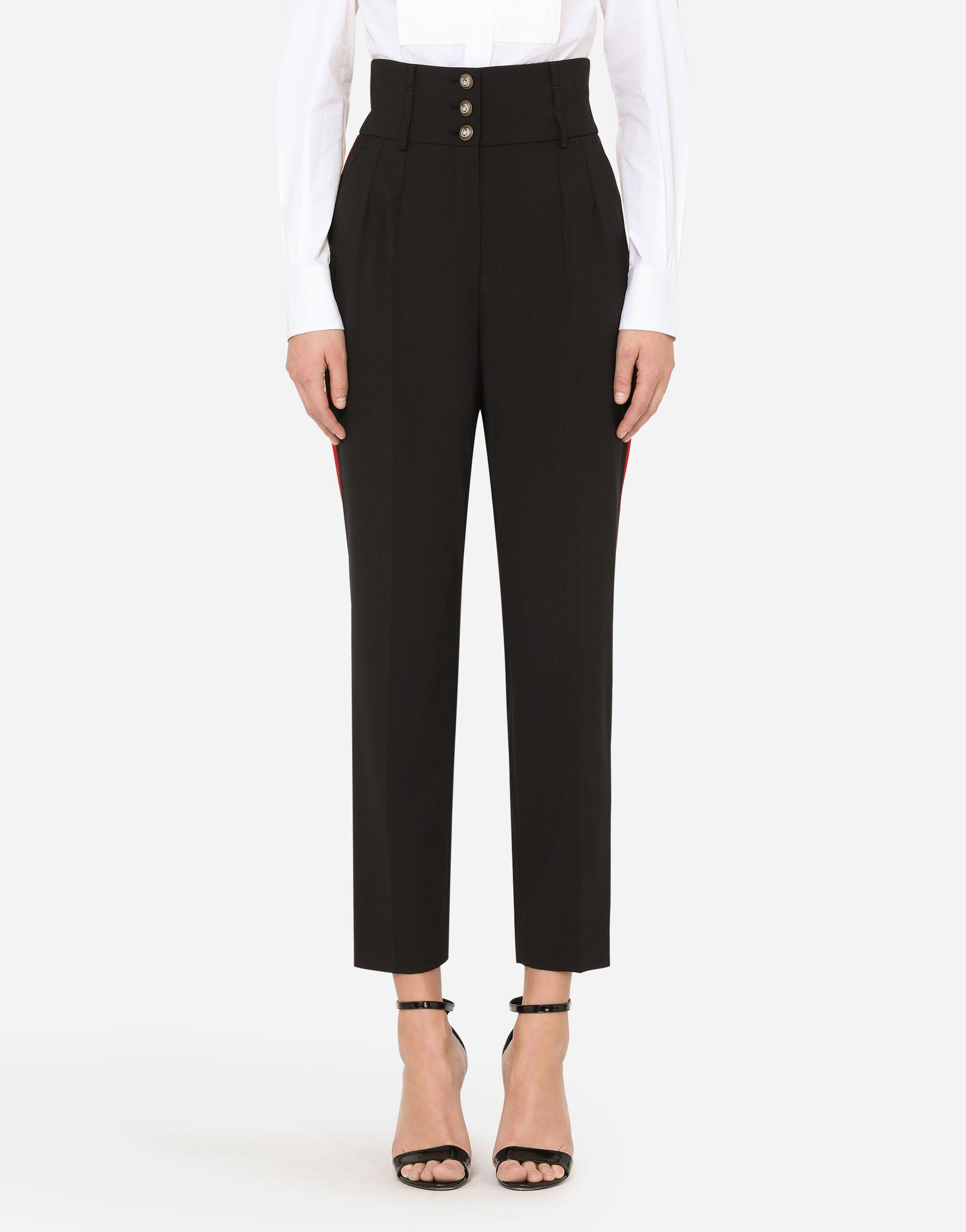 High-waisted pants with contrasting side bands