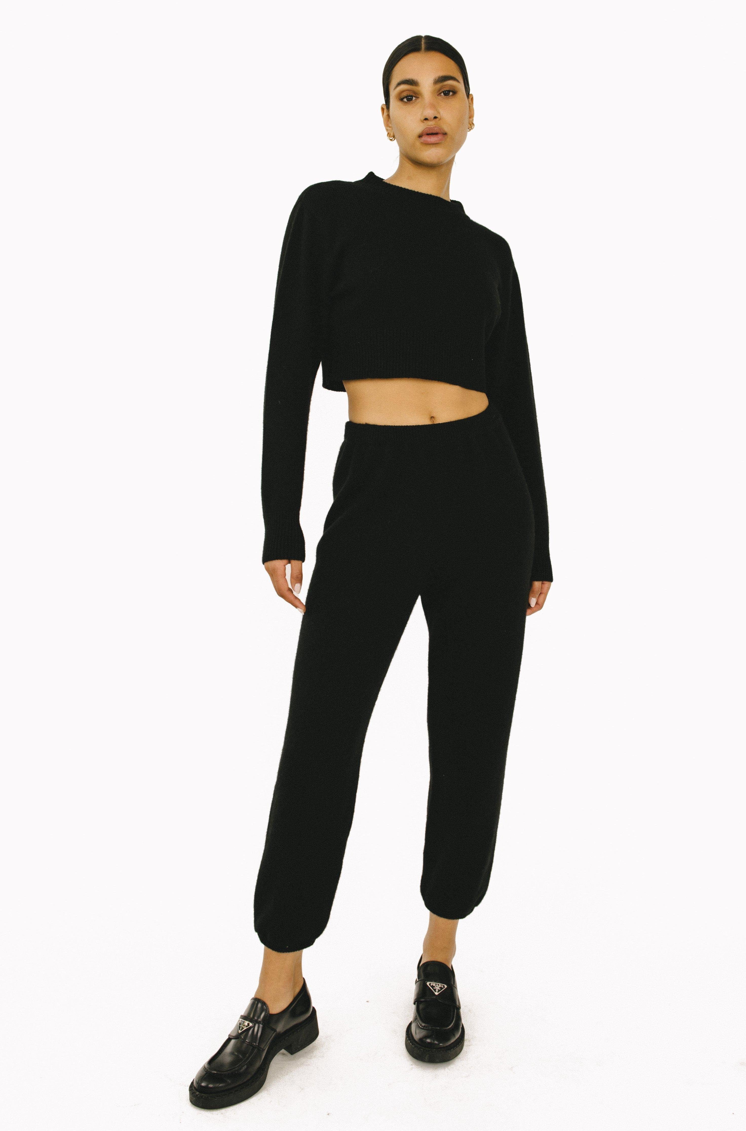 Black Cropped Cashmere Sweater