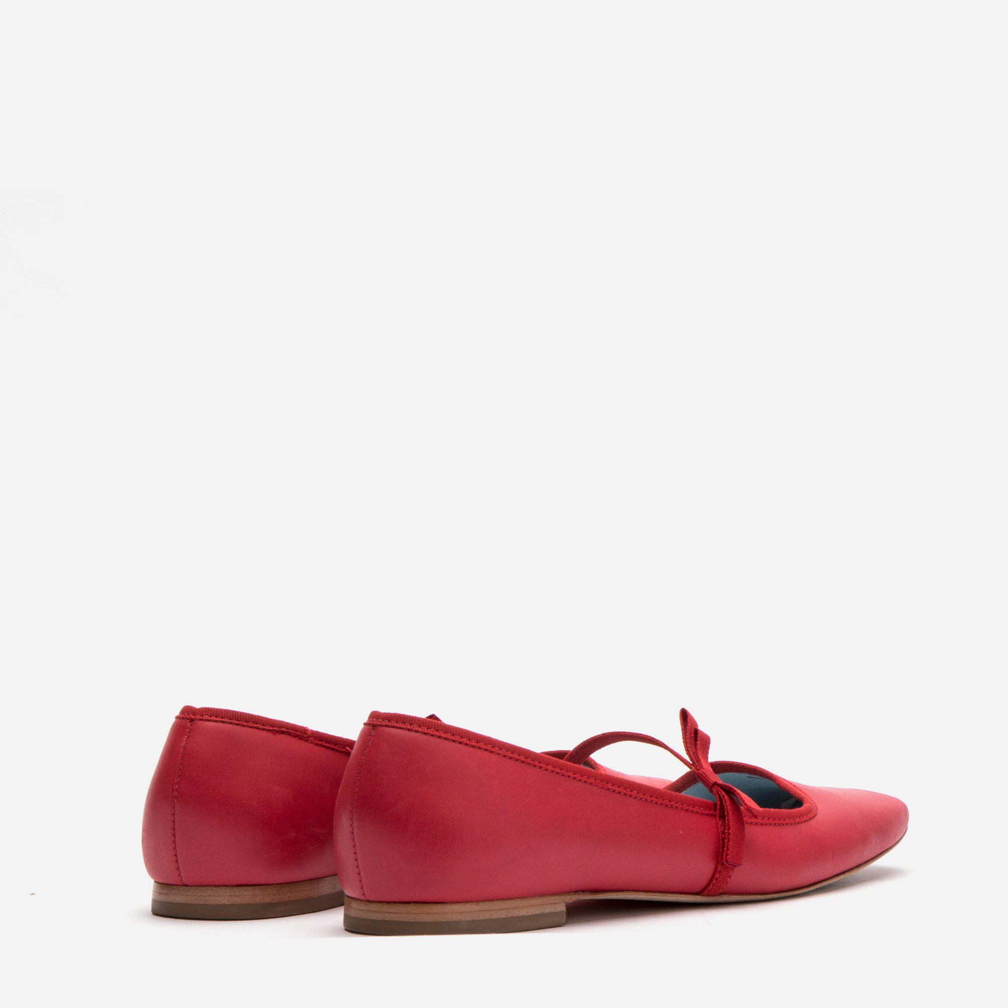 Jude Mary Jane Leather Flat Red 3