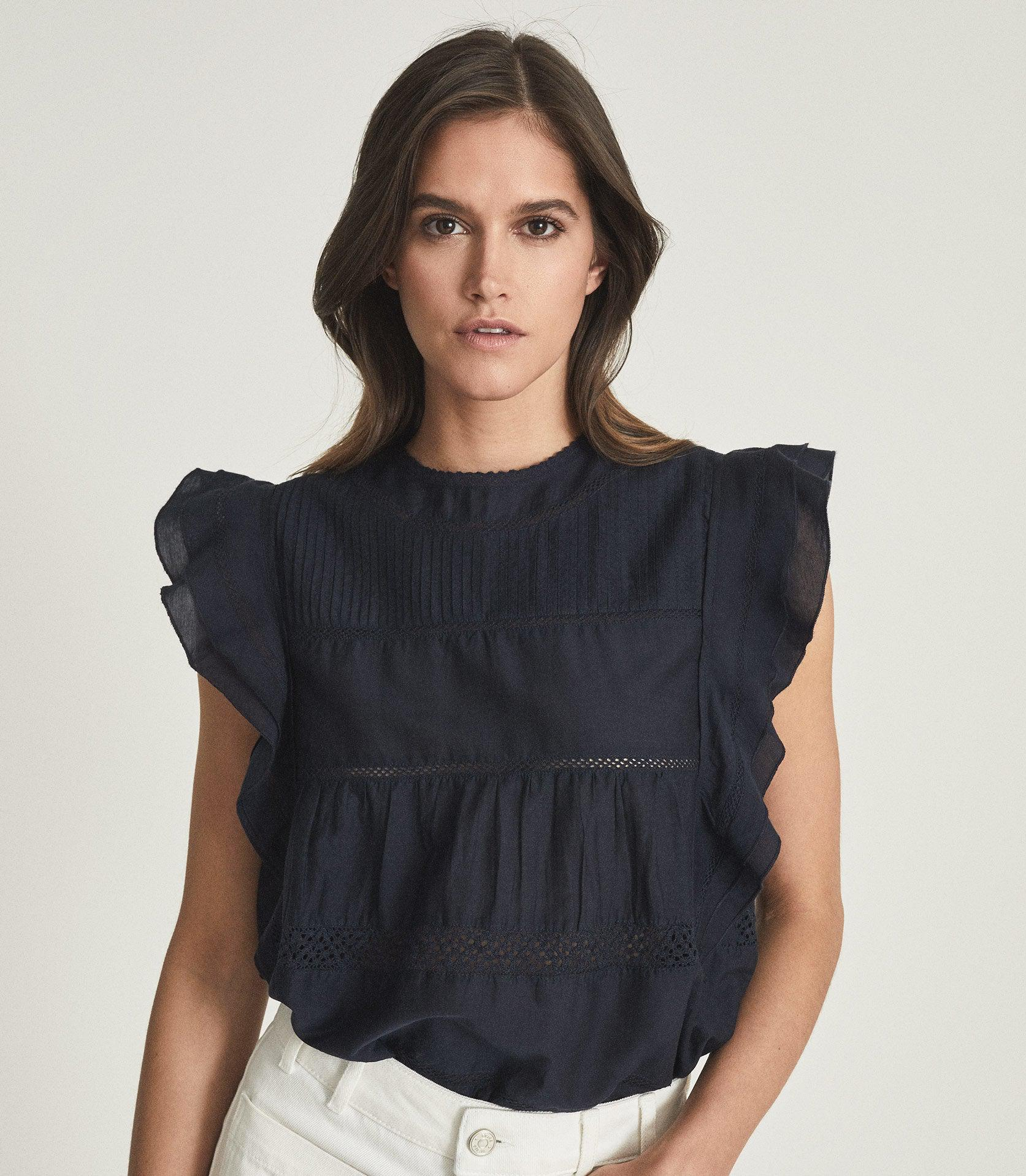 SIMONE - LACE DETAILED CAP SLEEVE TOP 1