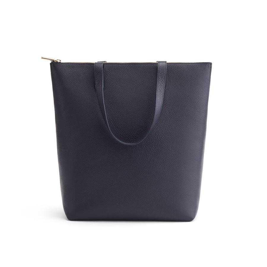 Women's Tall Structured Leather Zipper Tote Bag in Navy   Pebbled Leather by Cuyana