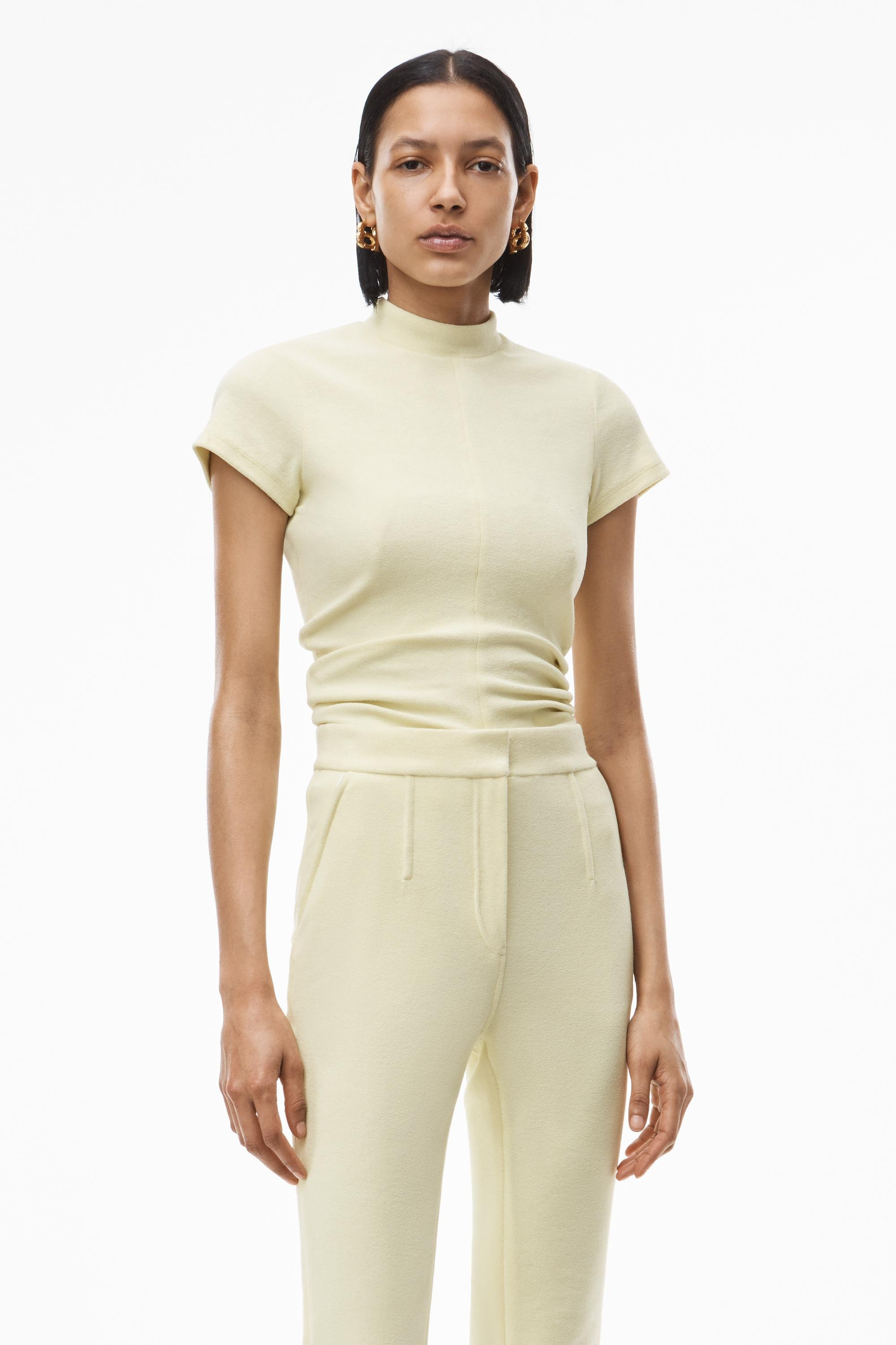 mock neck top in ruched velour tailoring