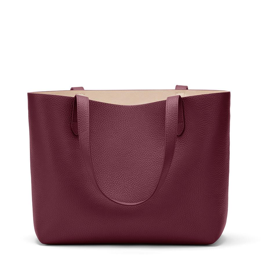 Women's Small Structured Leather Tote Bag in Merlot/Blush Pink | Pebbled Leather by Cuyana