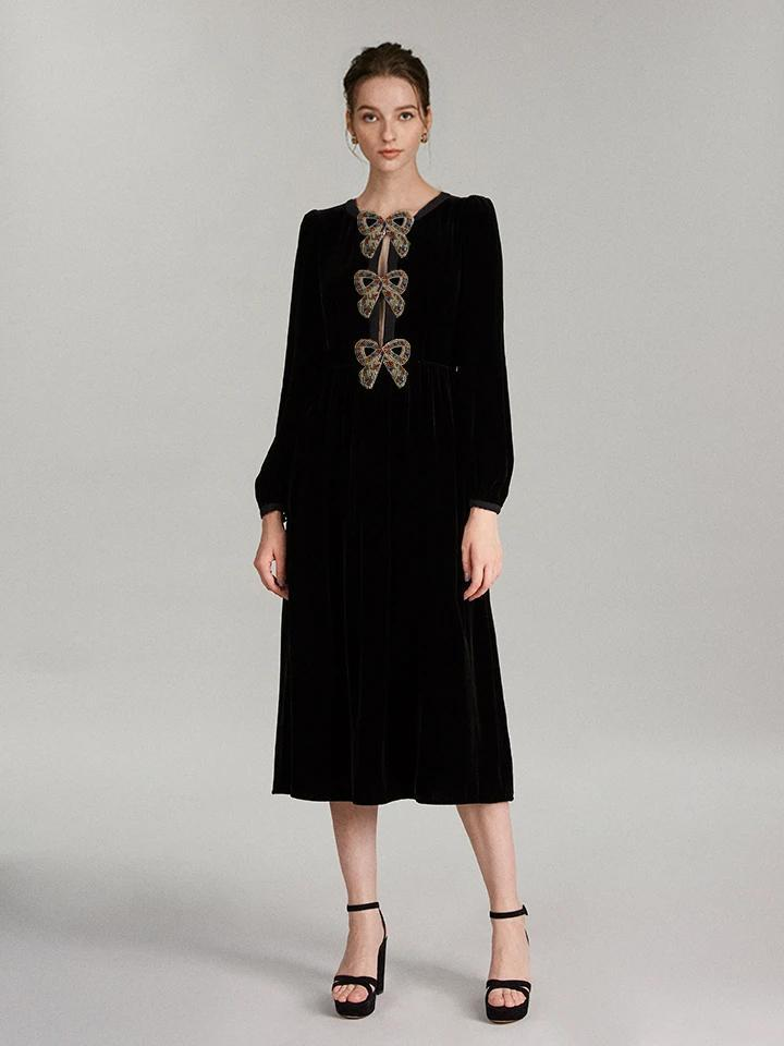 Camille Velvet Embellished Dress with Rainbow Bows