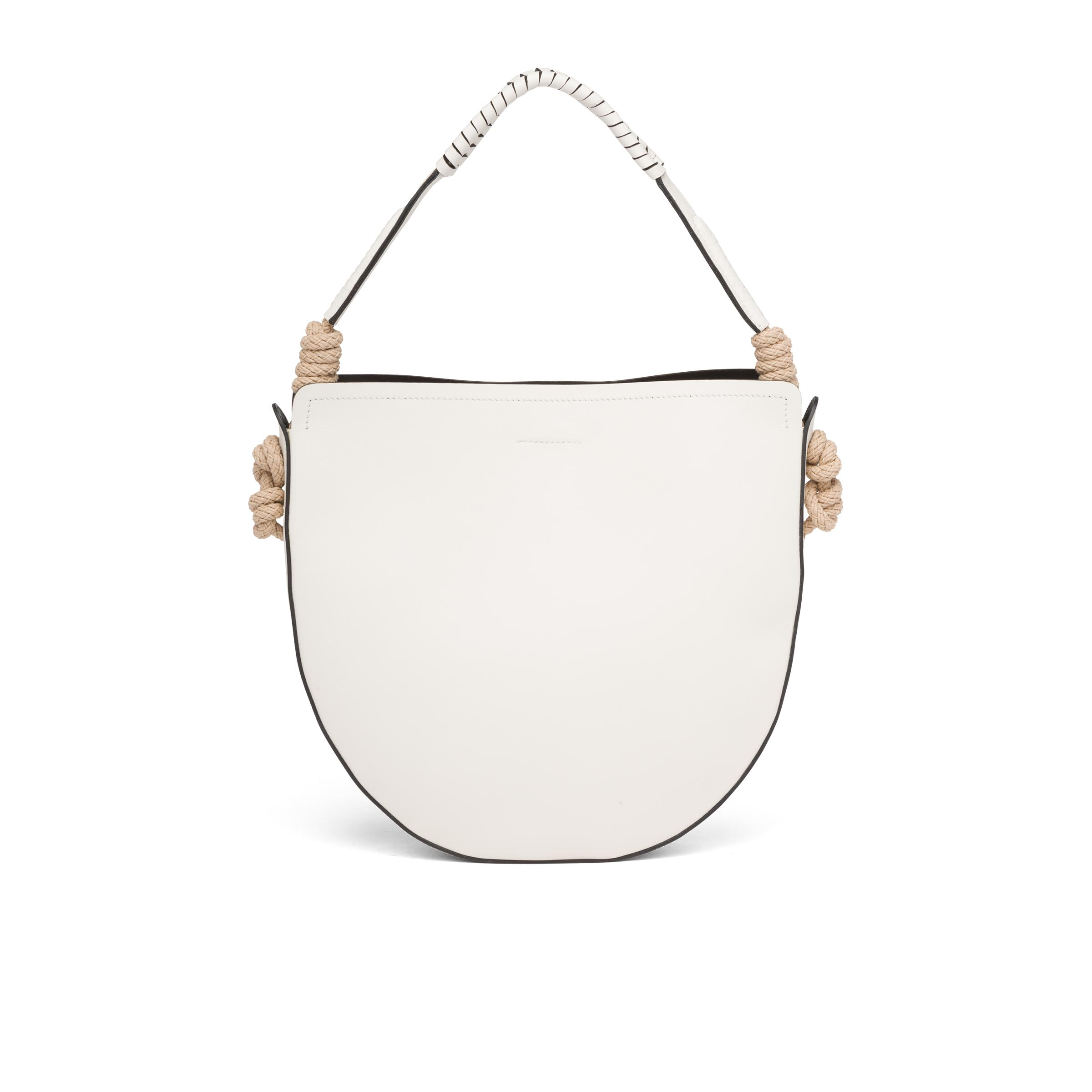 Leather Bag With Cord Details Women White/black 3