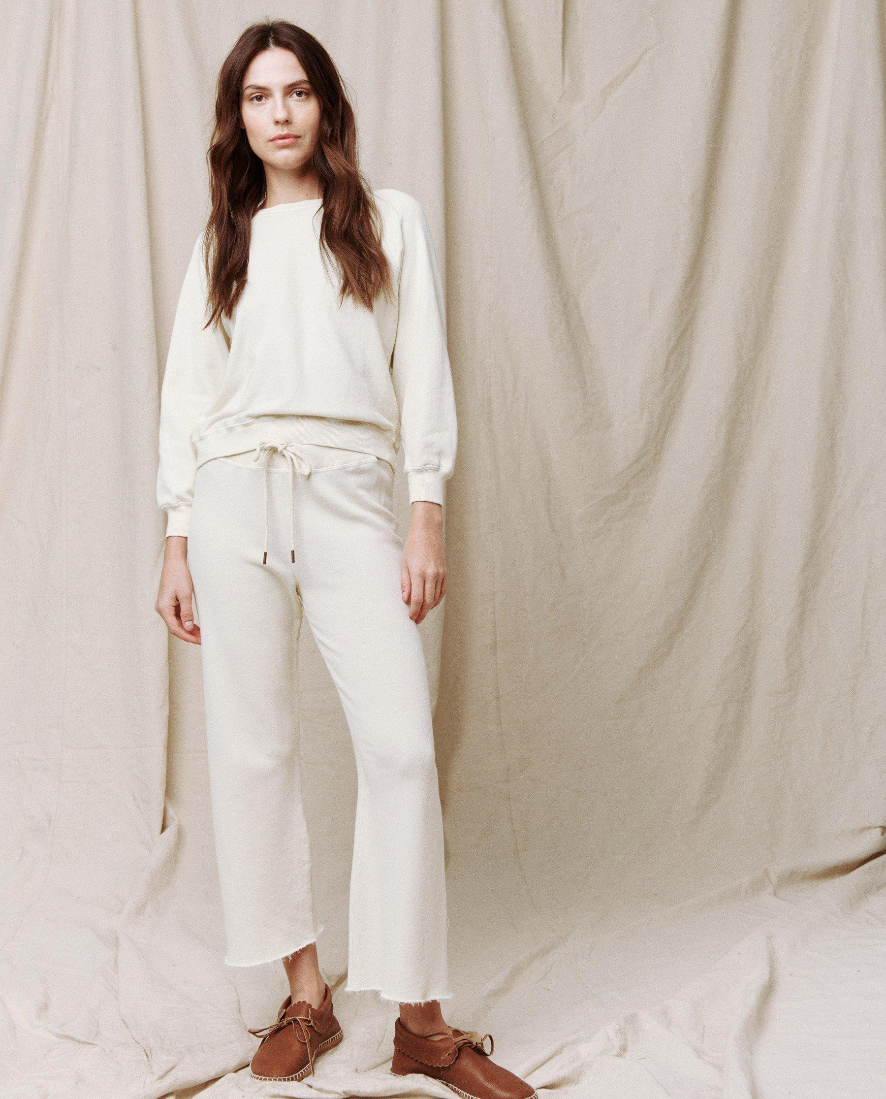The Wide Leg Cropped Sweatpant. -- WASHED WHITE