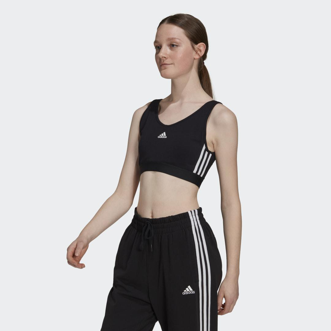 Essentials 3-Stripes Crop Top With Removable Pads Black