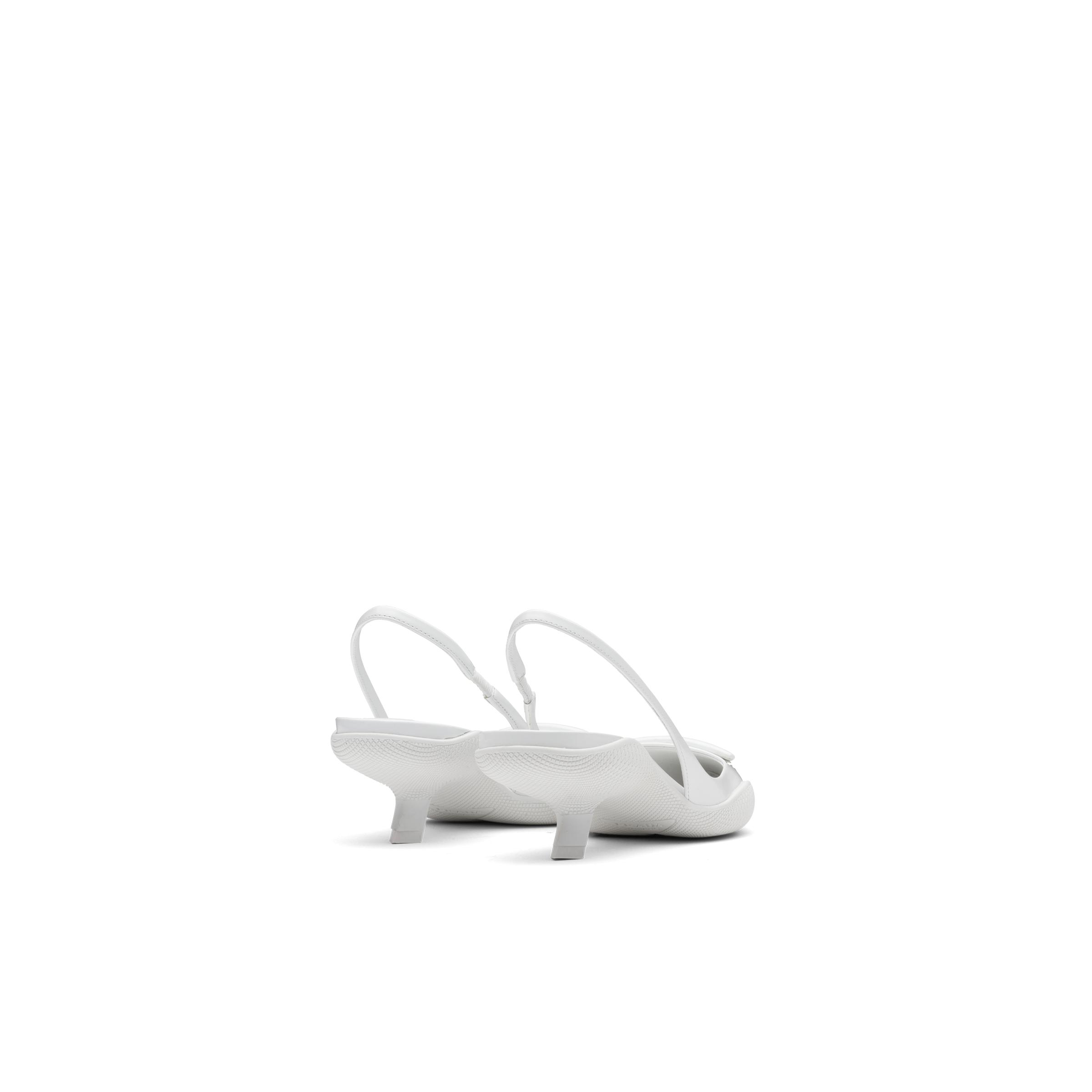 Brushed Leather Slingback Pumps Women White 3