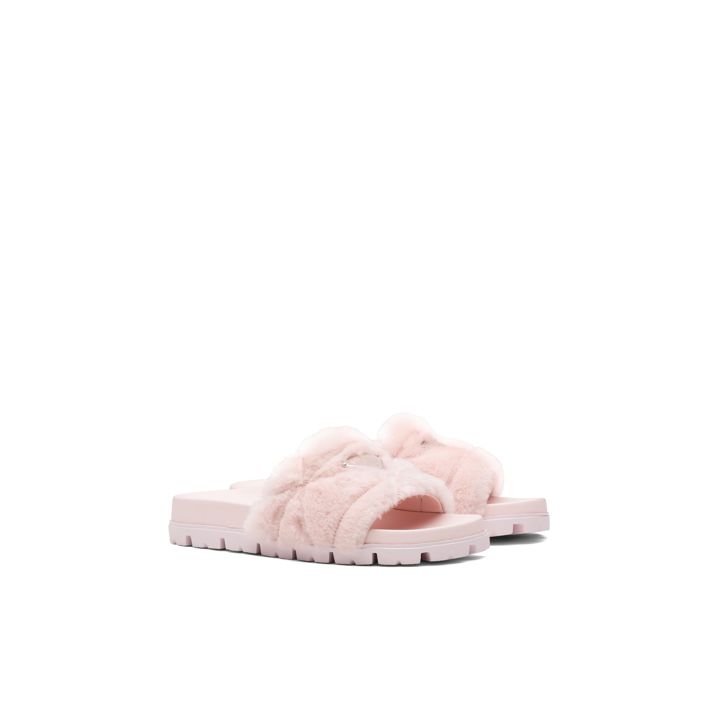 Shearling Slides Women Orchid Pink