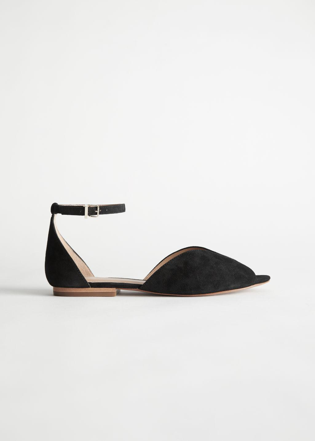 Suede Ankle Strap Ballerina Flats
