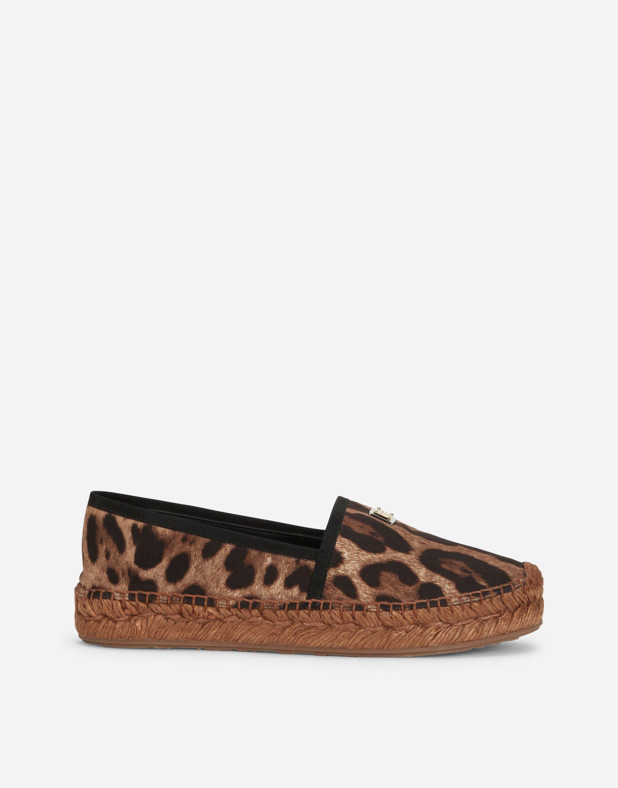 Leopard-print cotton espadrilles with branded plate