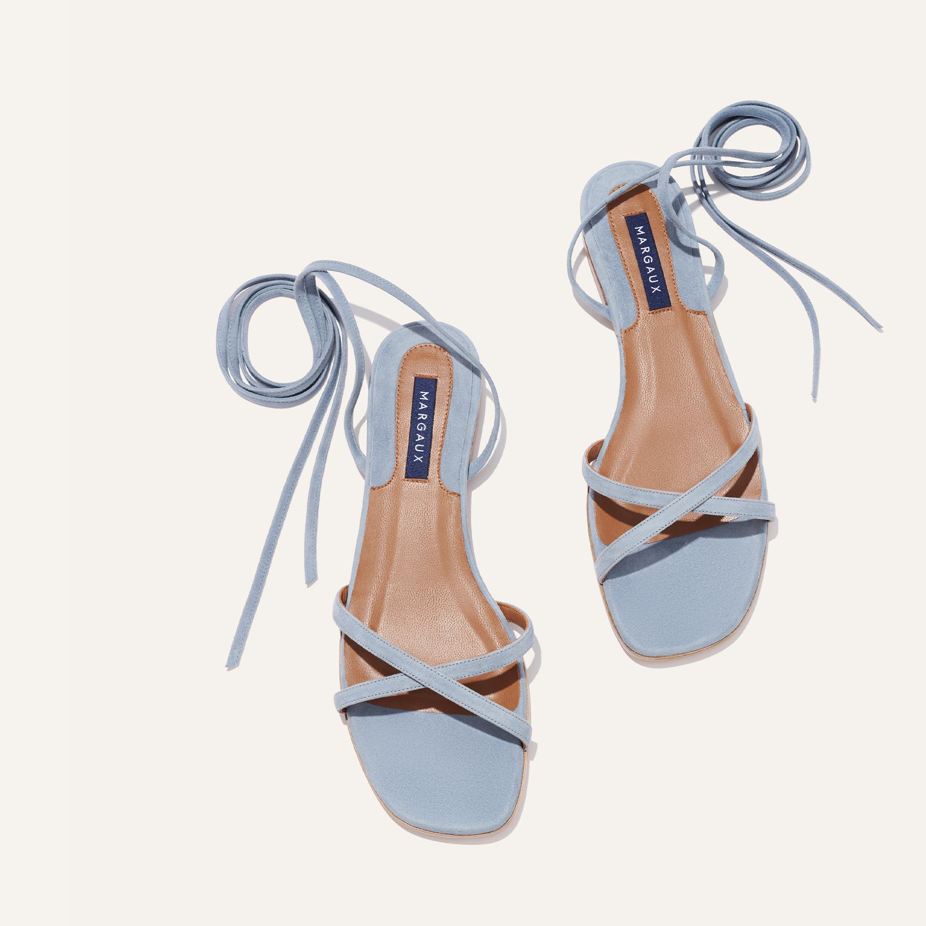 The Wrap Sandal - French Blue Suede 2