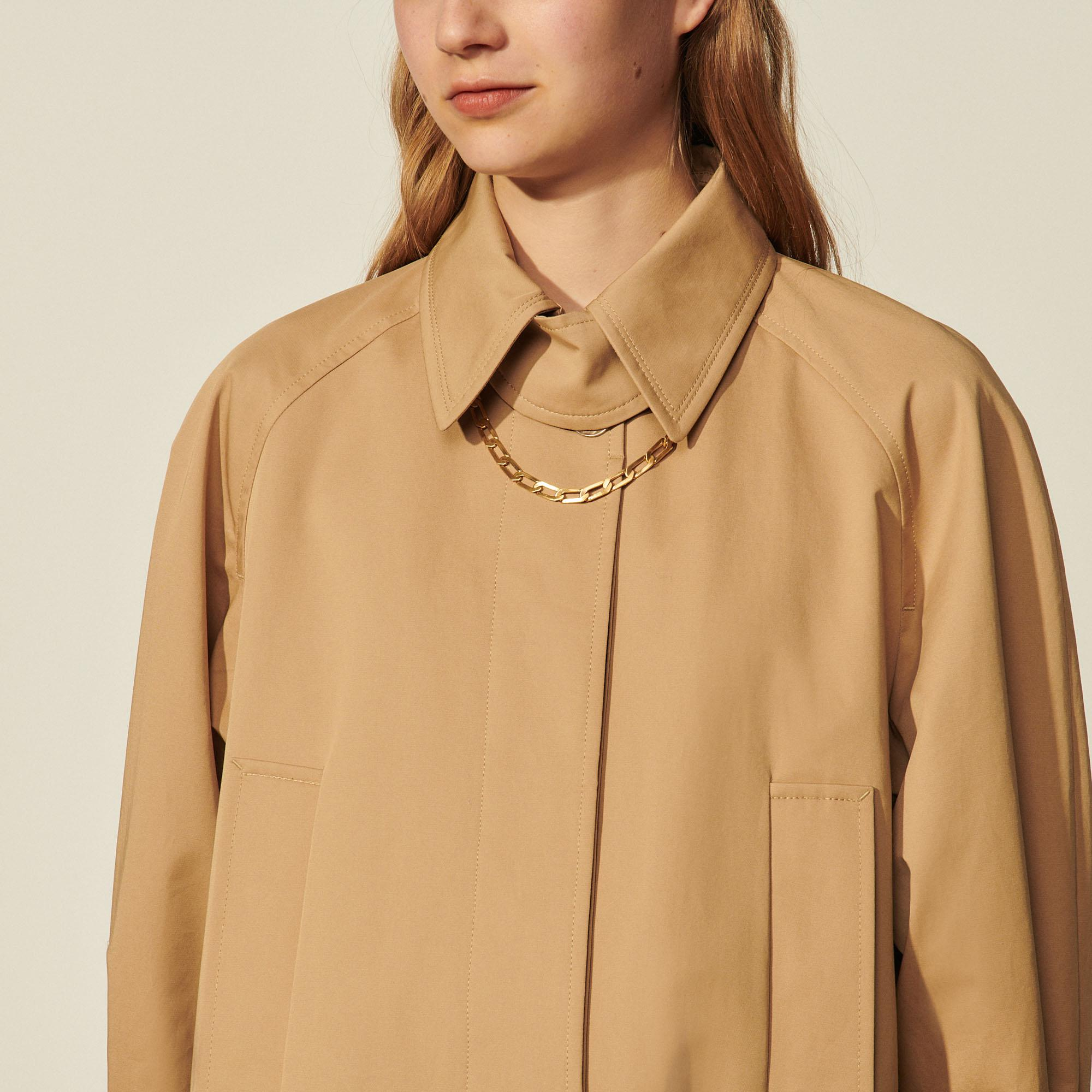 Cotton trench coat with detachable chain 4