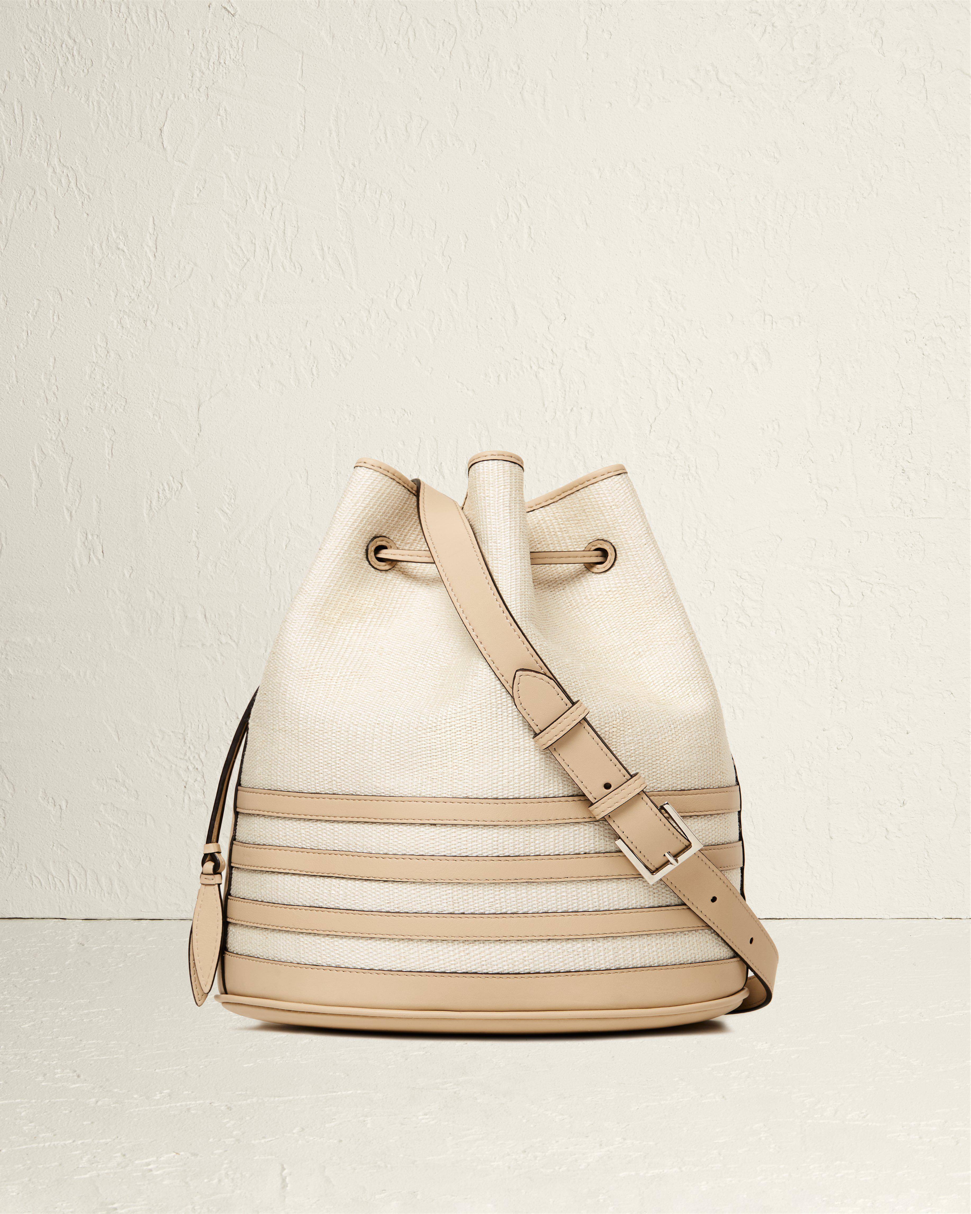 The Extra Large Drawstring in Nappa Horizontal Stripes and Fique