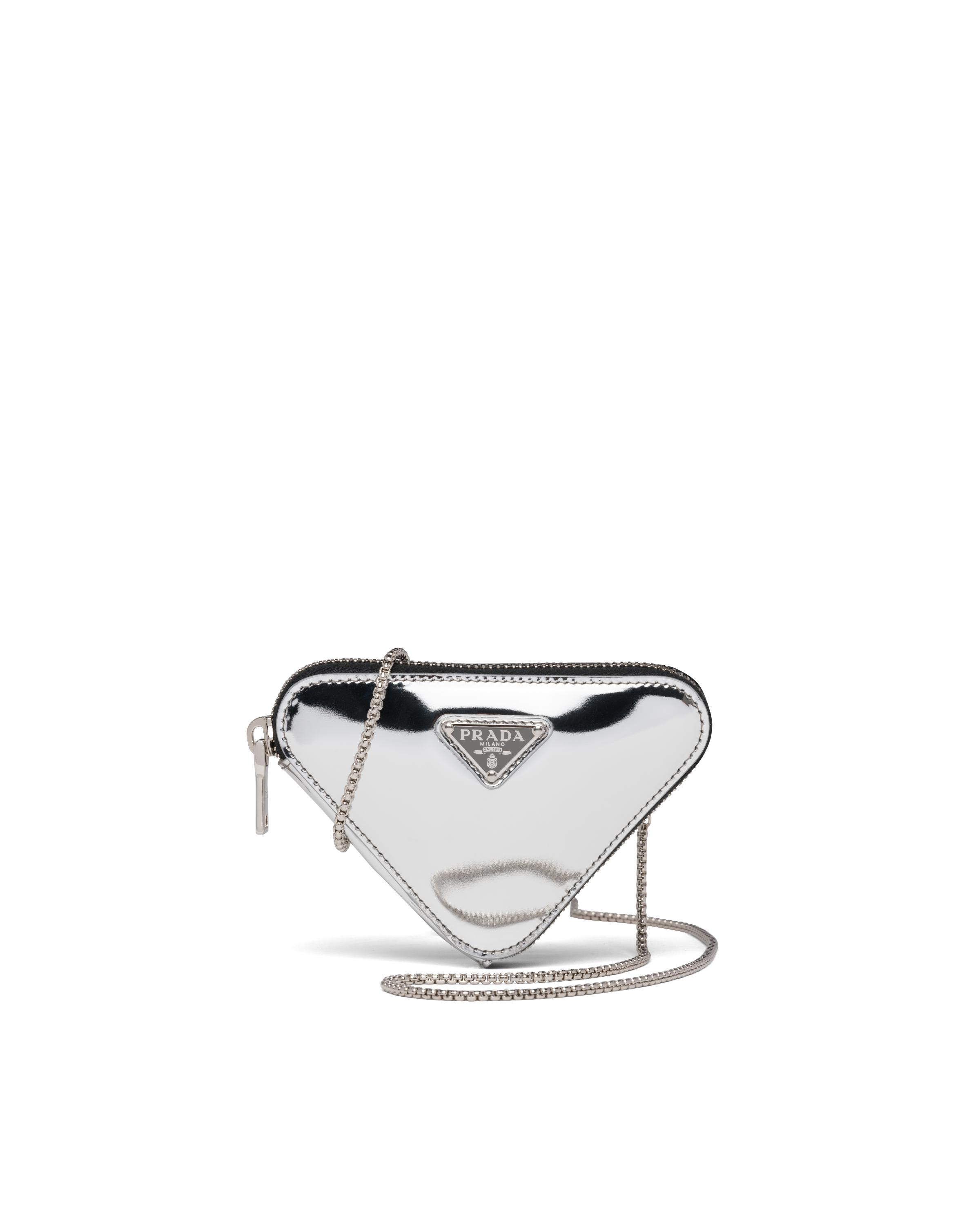 Brushed Leather Mini-pouch Women Silver 3