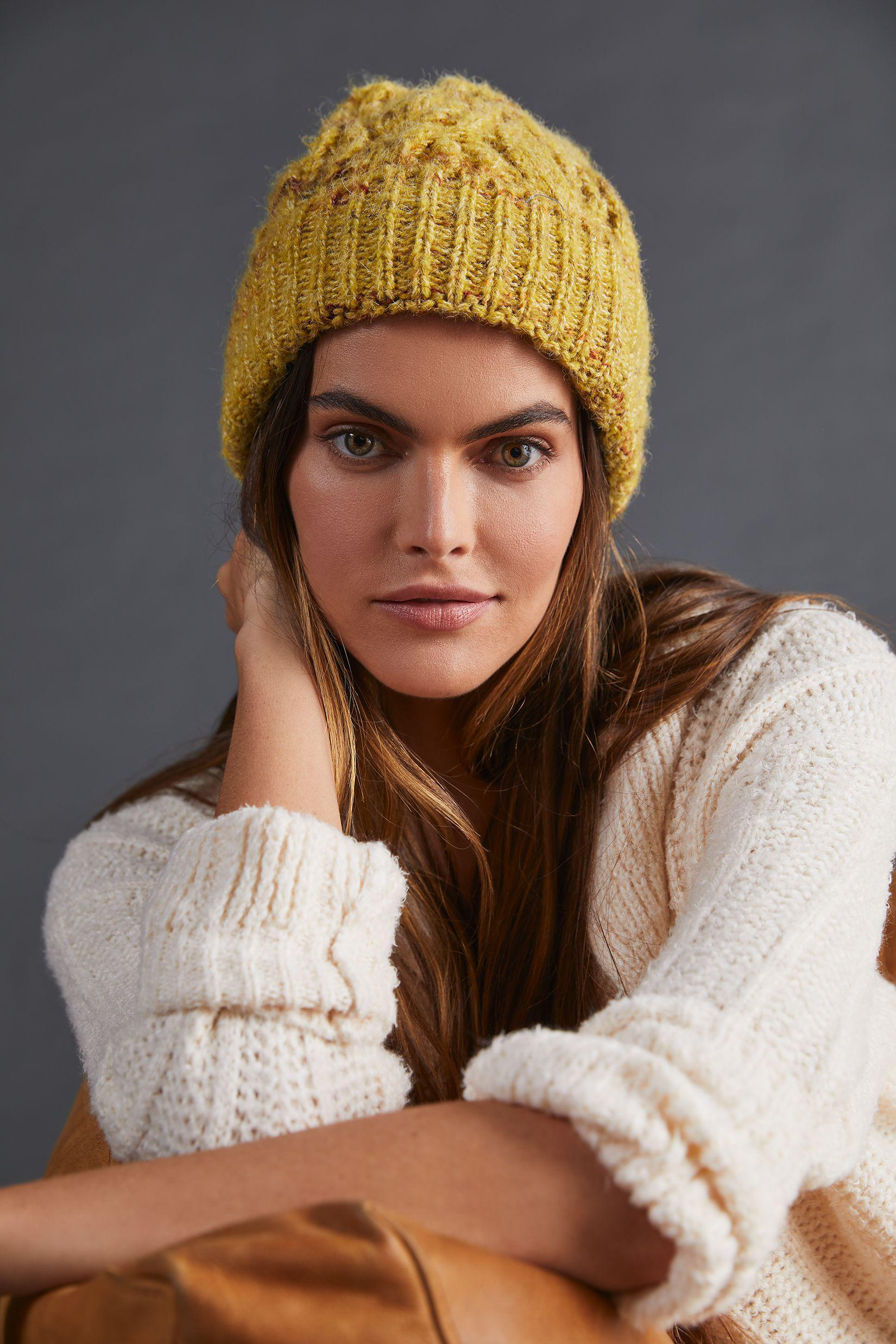 Marled Cable-Knit Beanie