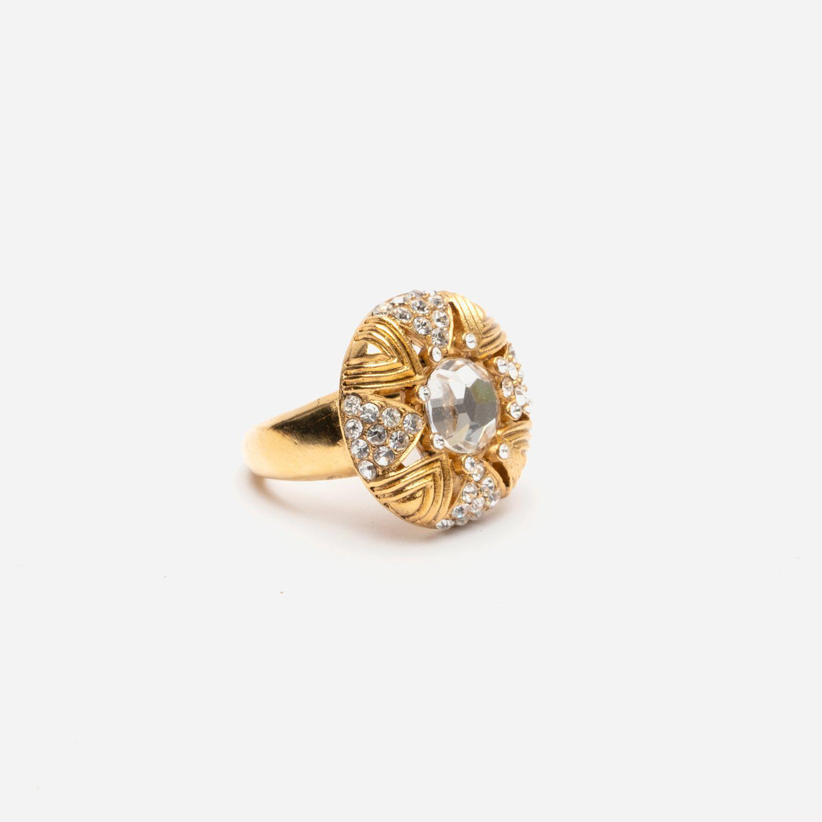Art Deco Crystal Gold Ring