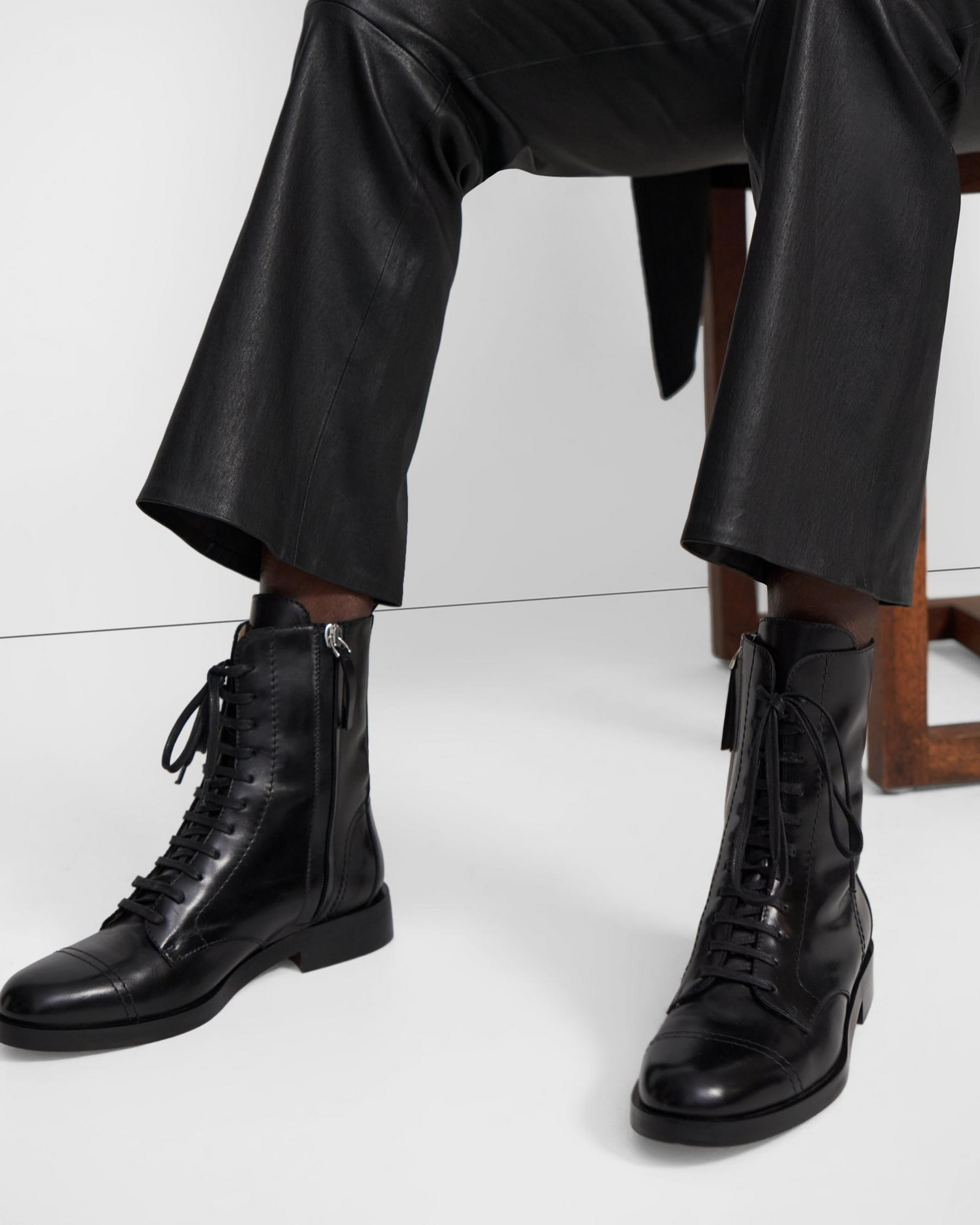 Laced Boot in Satin Leather