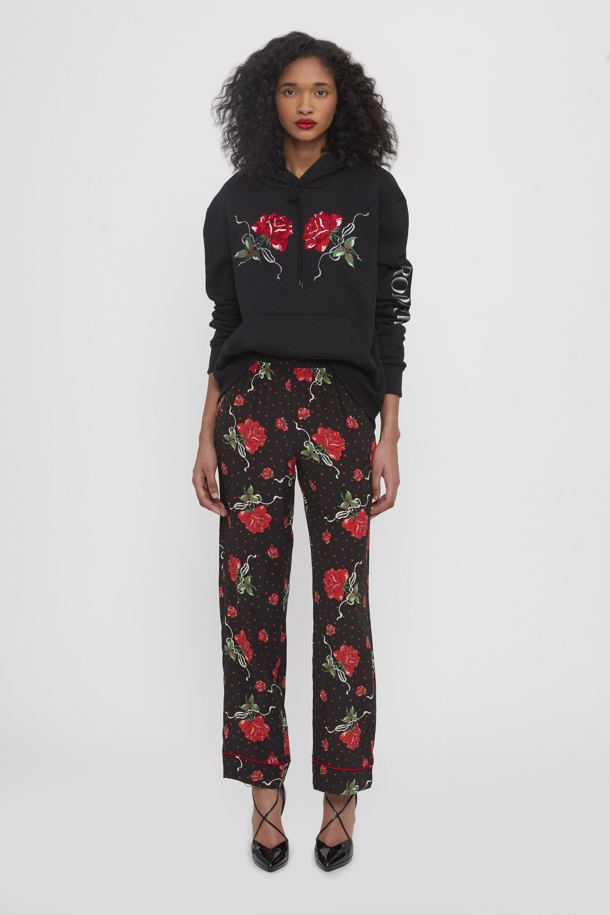 RED ROSE EMBROIDERED HOODIE