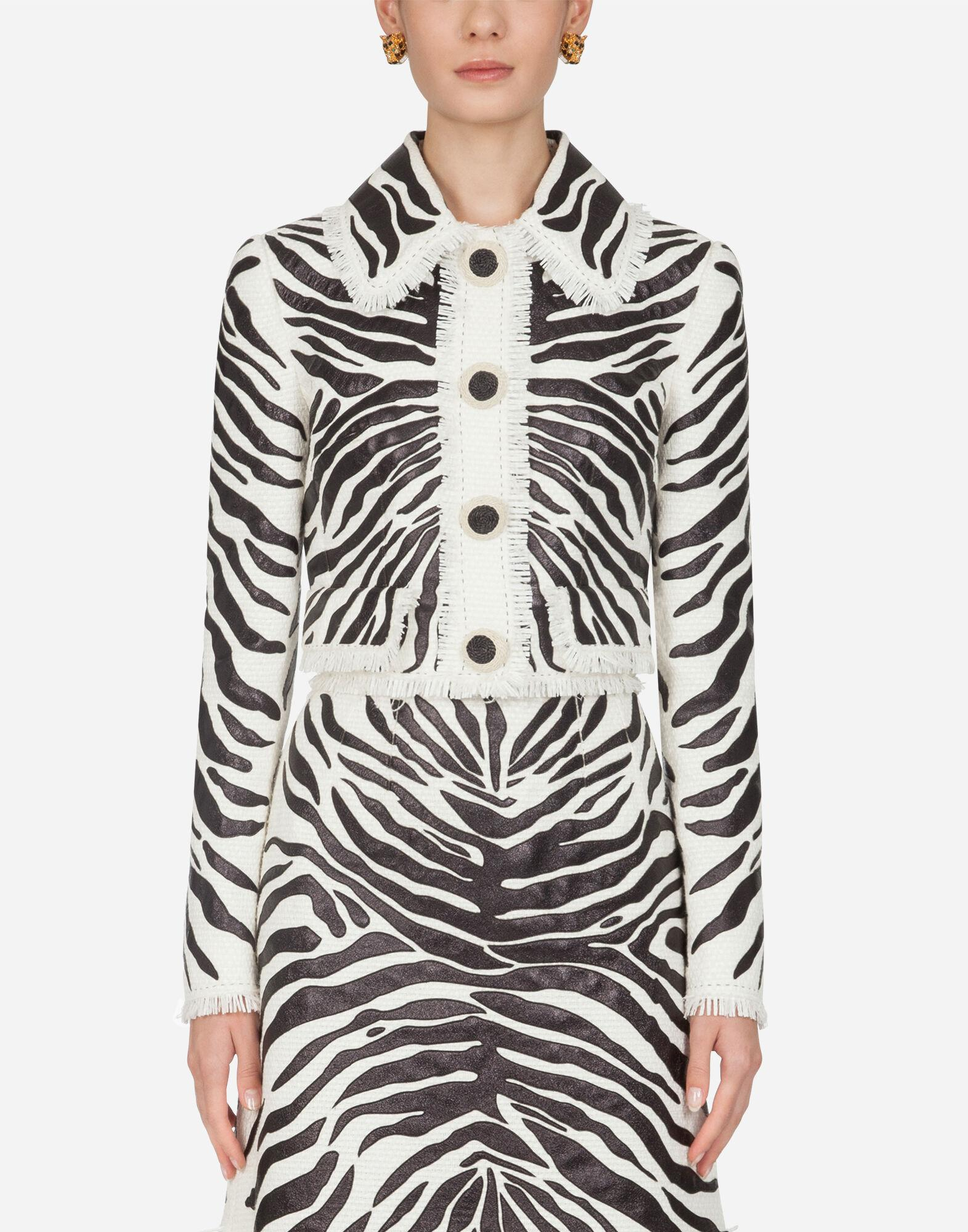 Short single-breasted leather jacket with zebra print embroidery