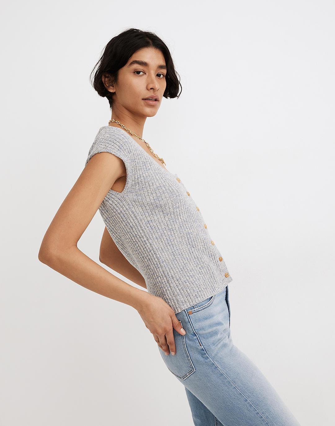 Marled Shaw Button-Front Sweater Tee 1
