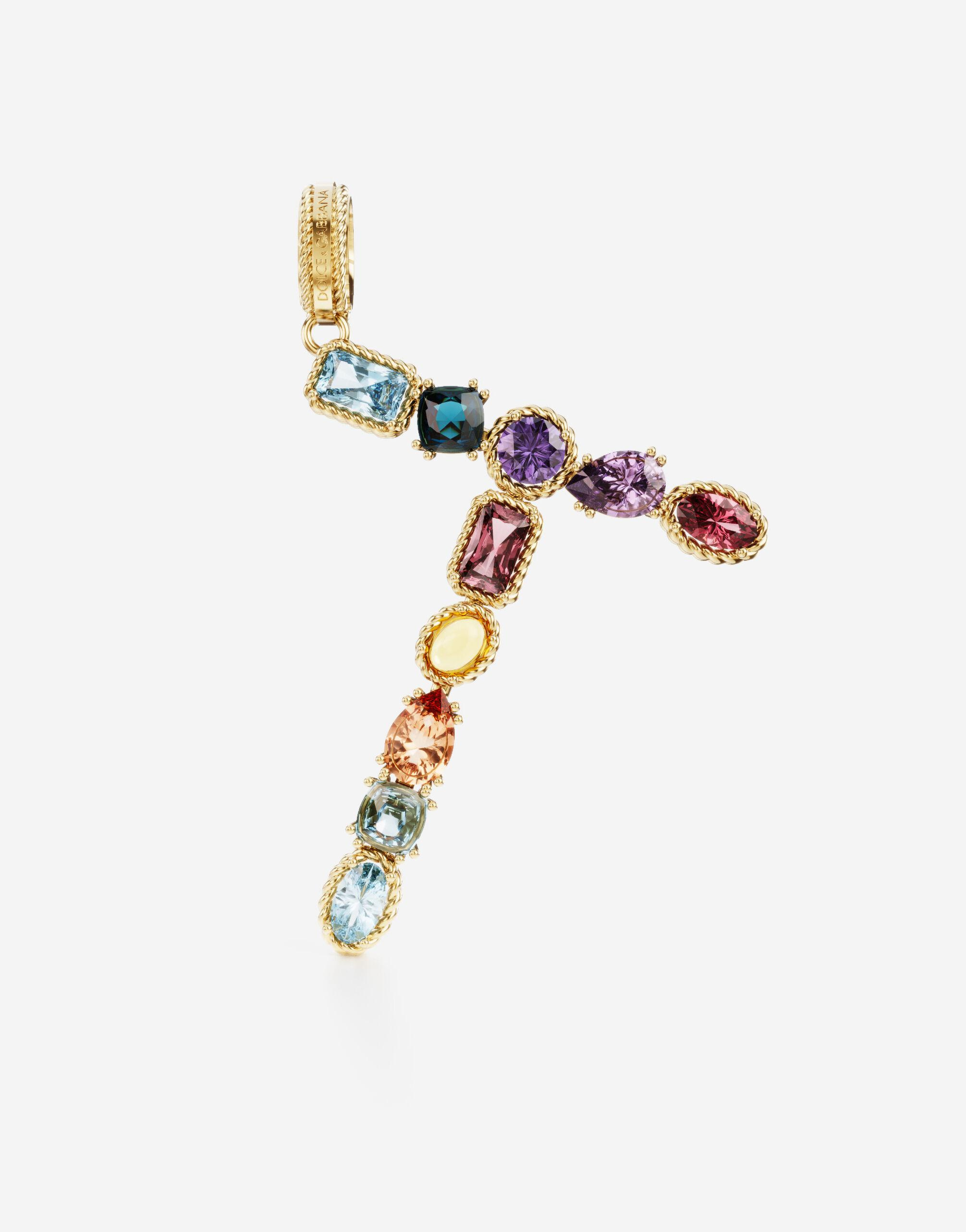 Rainbow alphabet T 18 kt yellow gold charm with multicolor fine gems