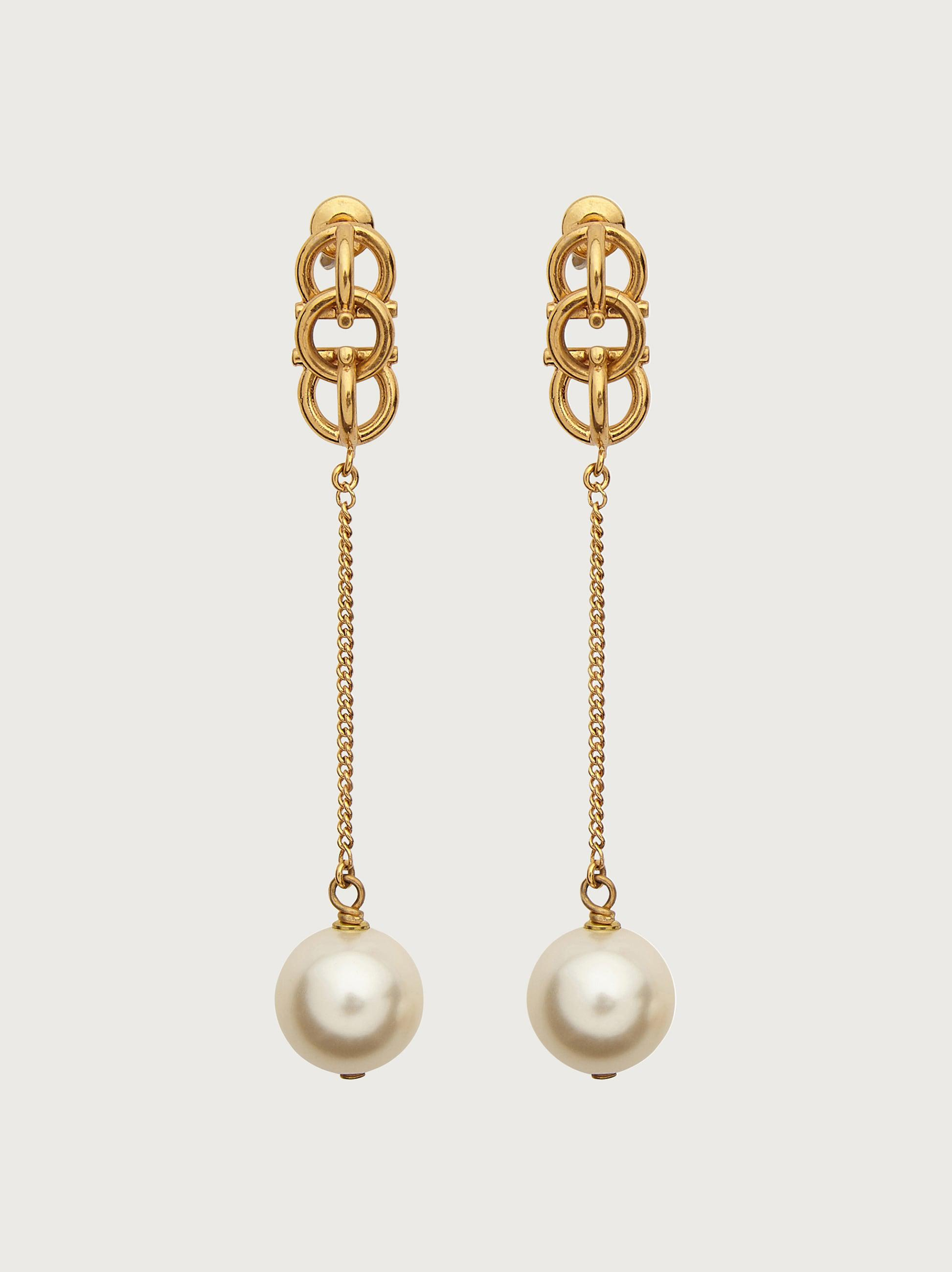 GANCIO 3D PENDANT EARRINGS WITH SYNTHETIC PEARLS
