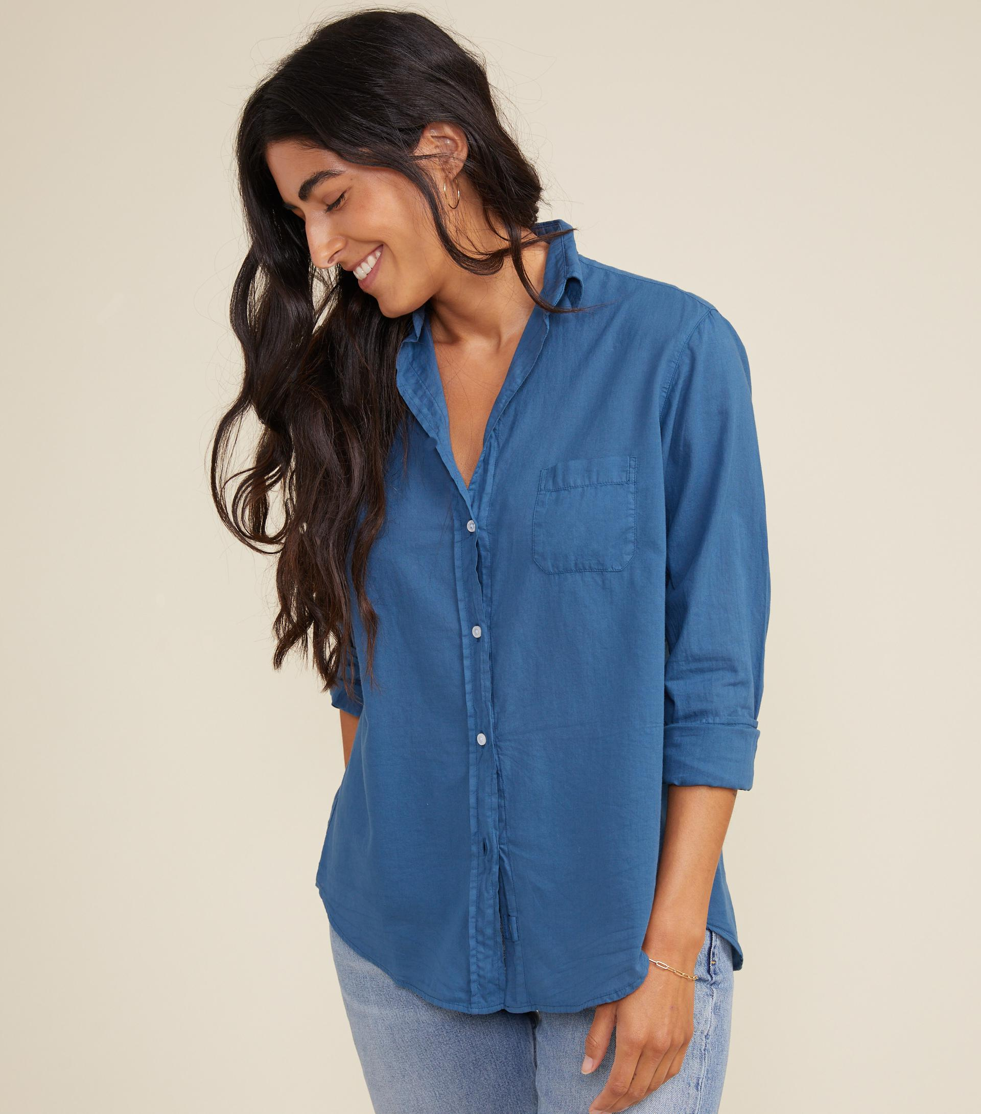 The Hero Button-Up Shirt Teal Blue, Tissue Cotton