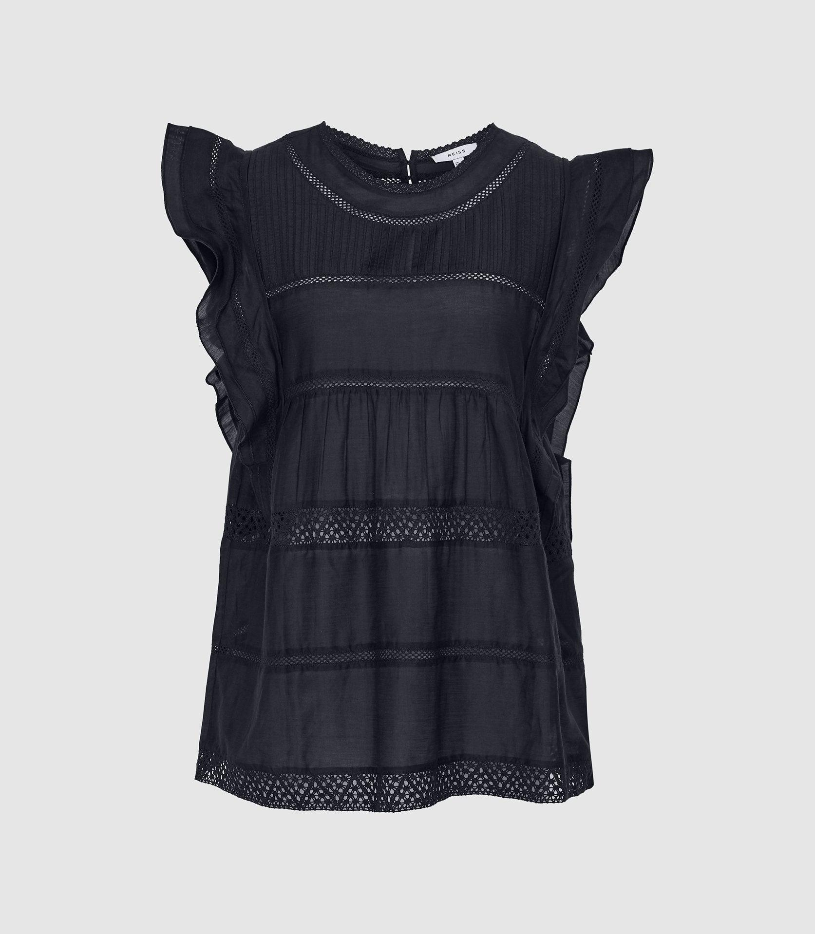 SIMONE - LACE DETAILED CAP SLEEVE TOP 5