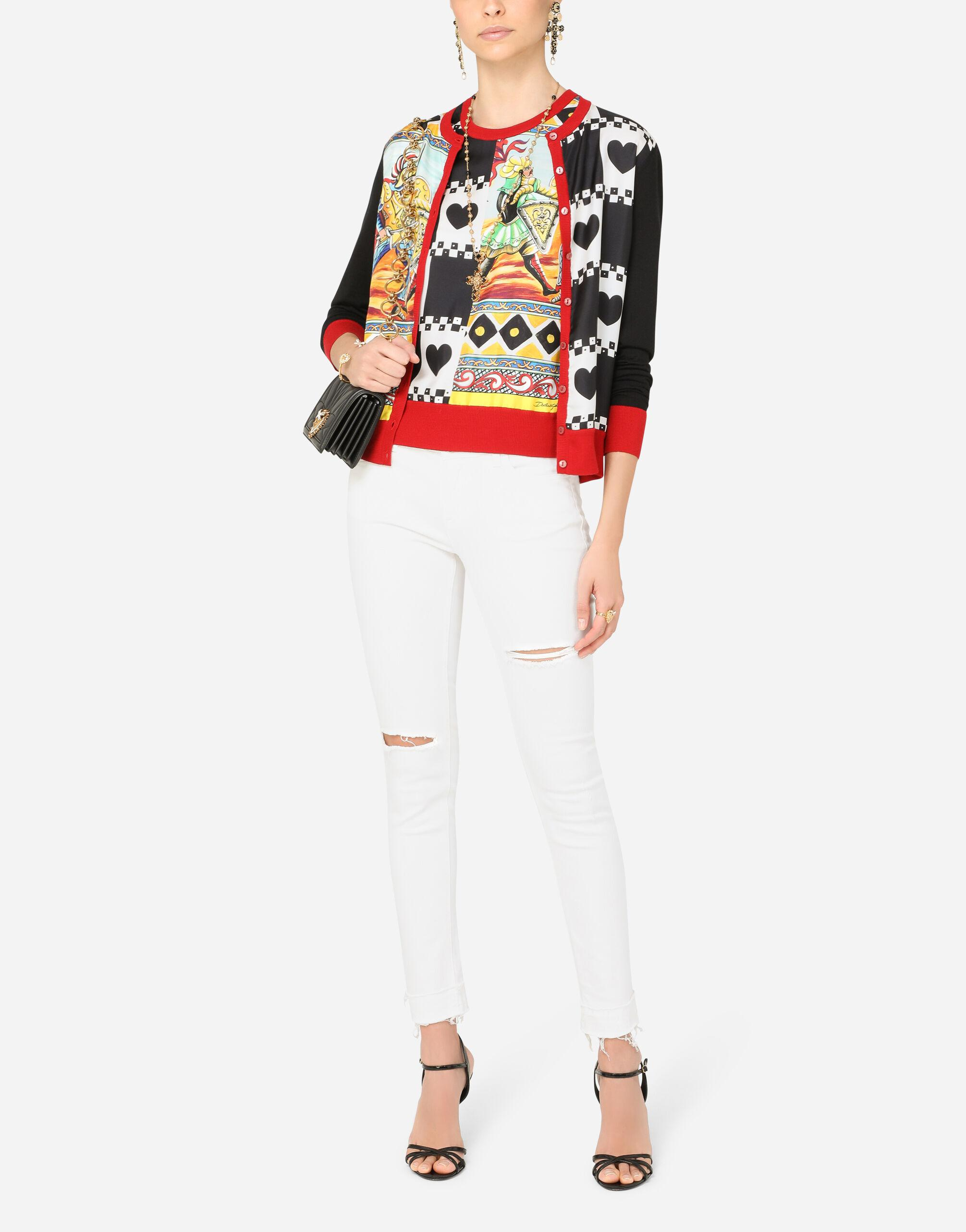 Cashmere and silk sweater with patchwork print 4