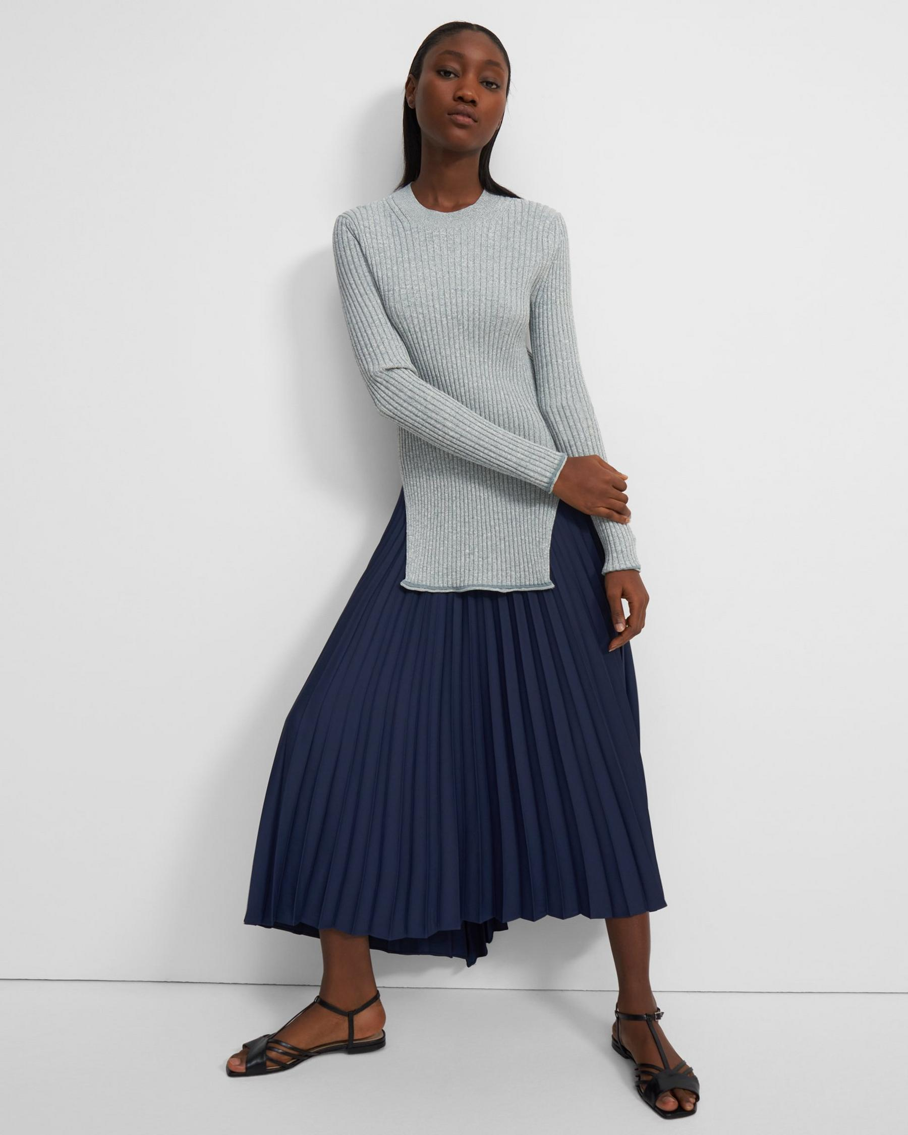 Pleated Skirt in Satin Crepe 0