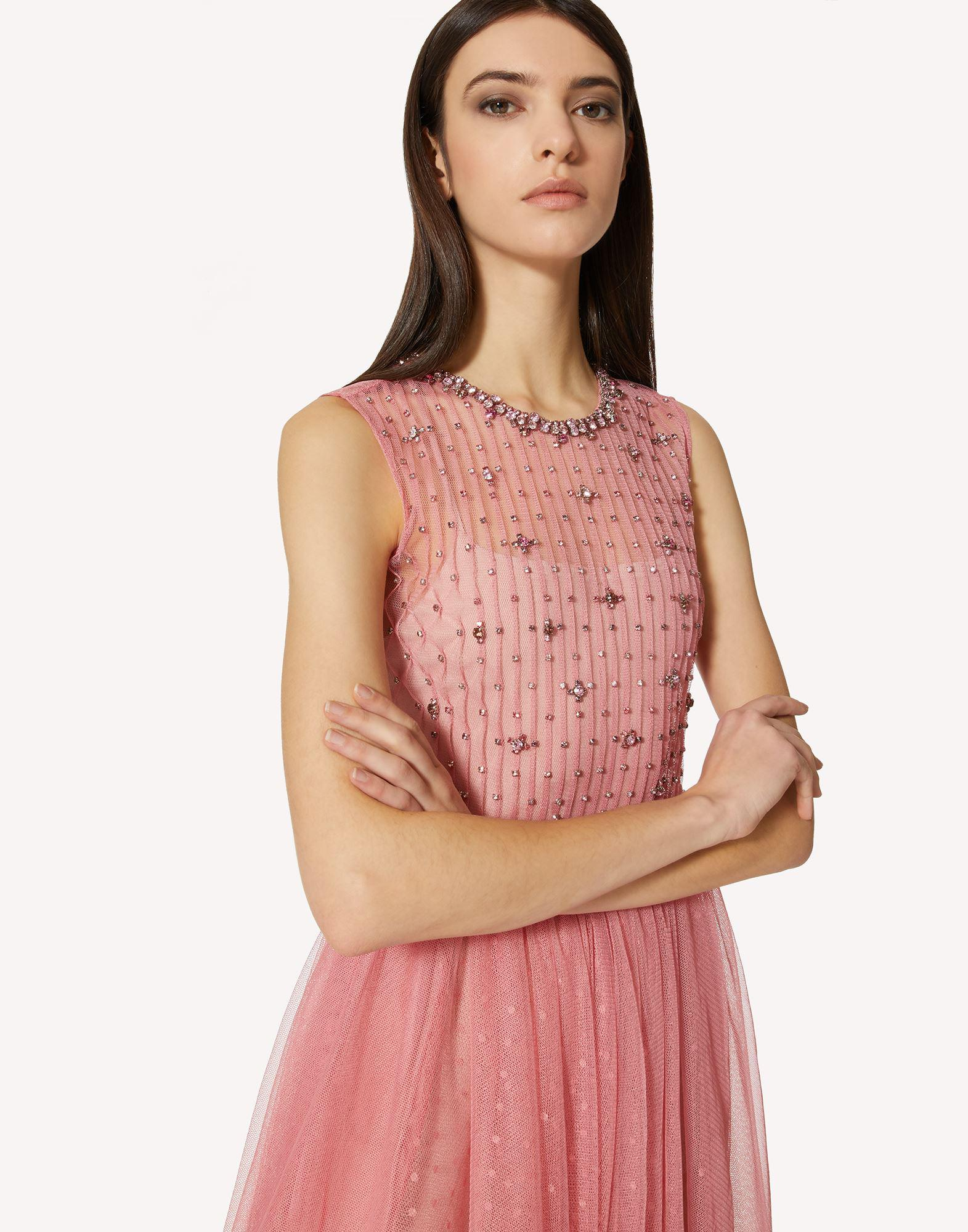 POINT D'ESPRIT TULLE DRESS WITH RHINESTONE EMBROIDERY 3