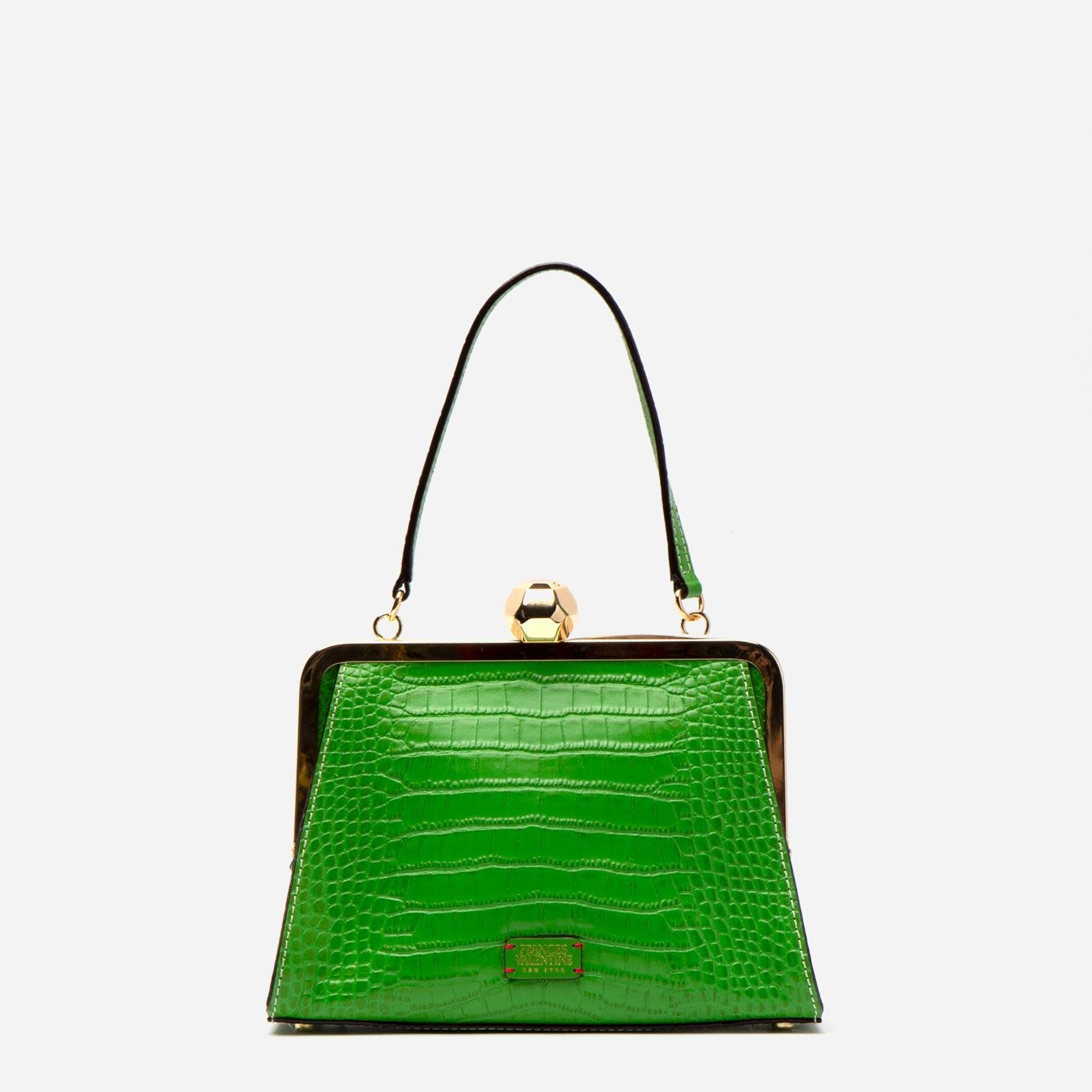 Small Jackie Croc Embossed Leather Green