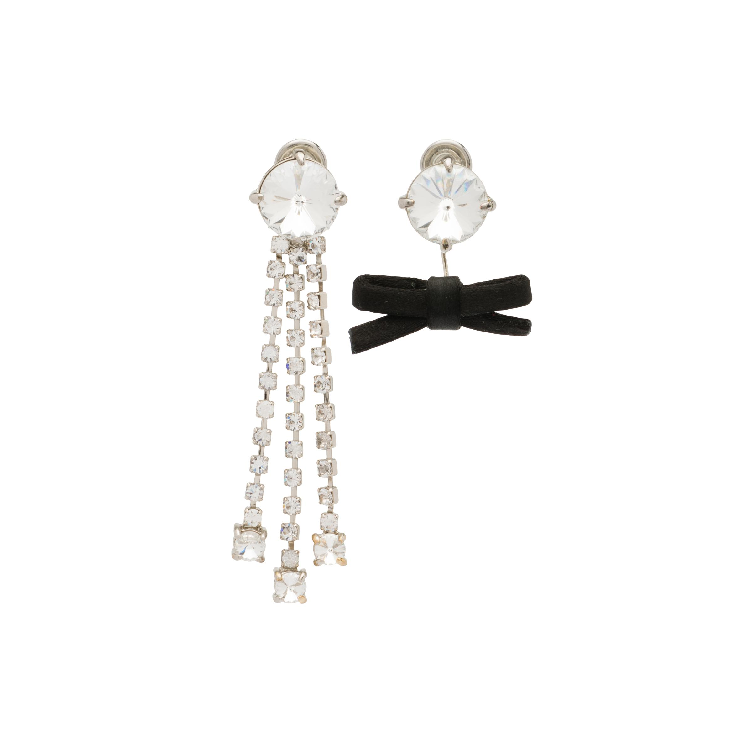 Pendant Earrings With Crystals Women Black