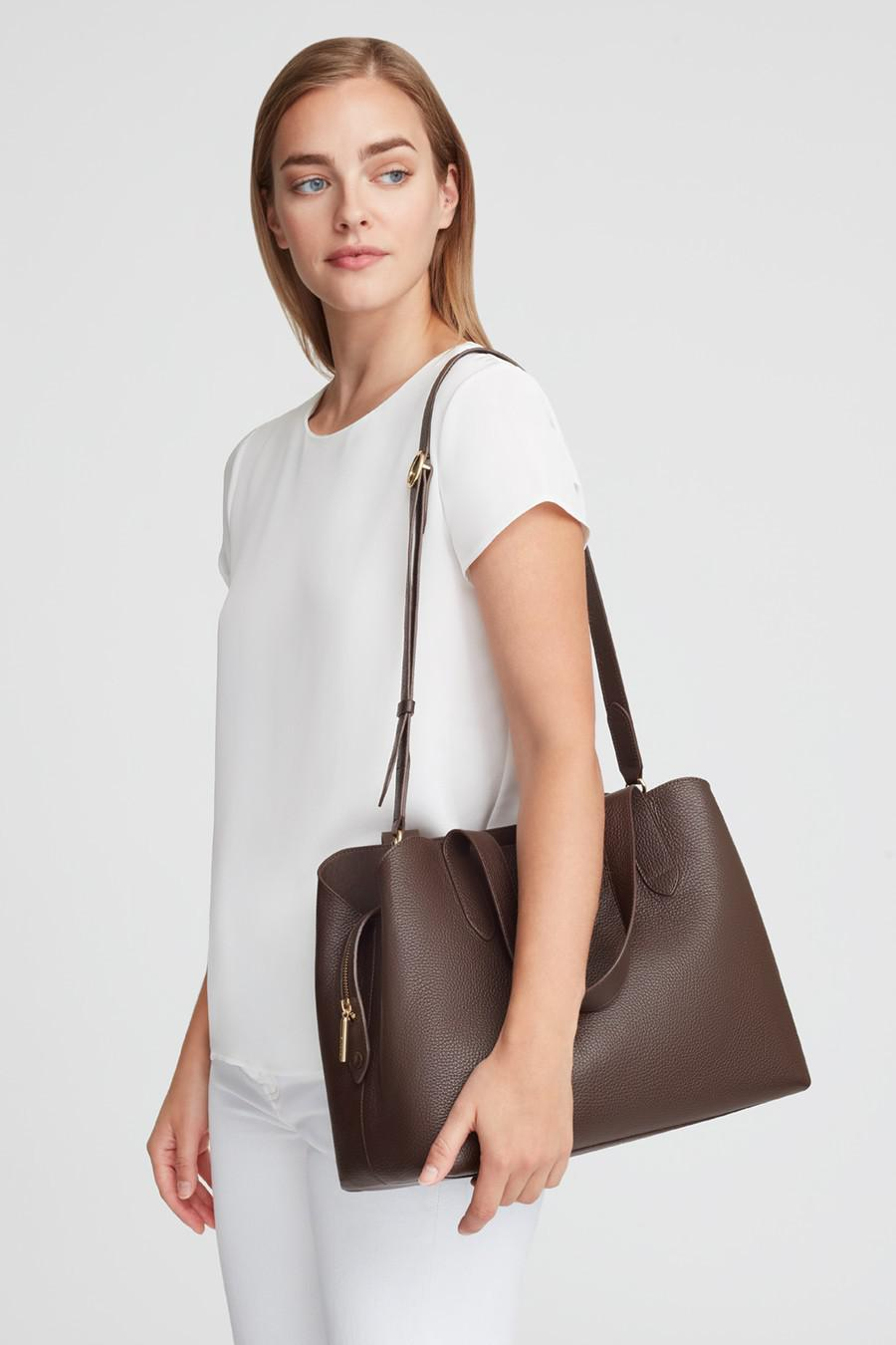 Women's Zippered Satchel Bag in Chocolate | Pebbled Leather by Cuyana 5