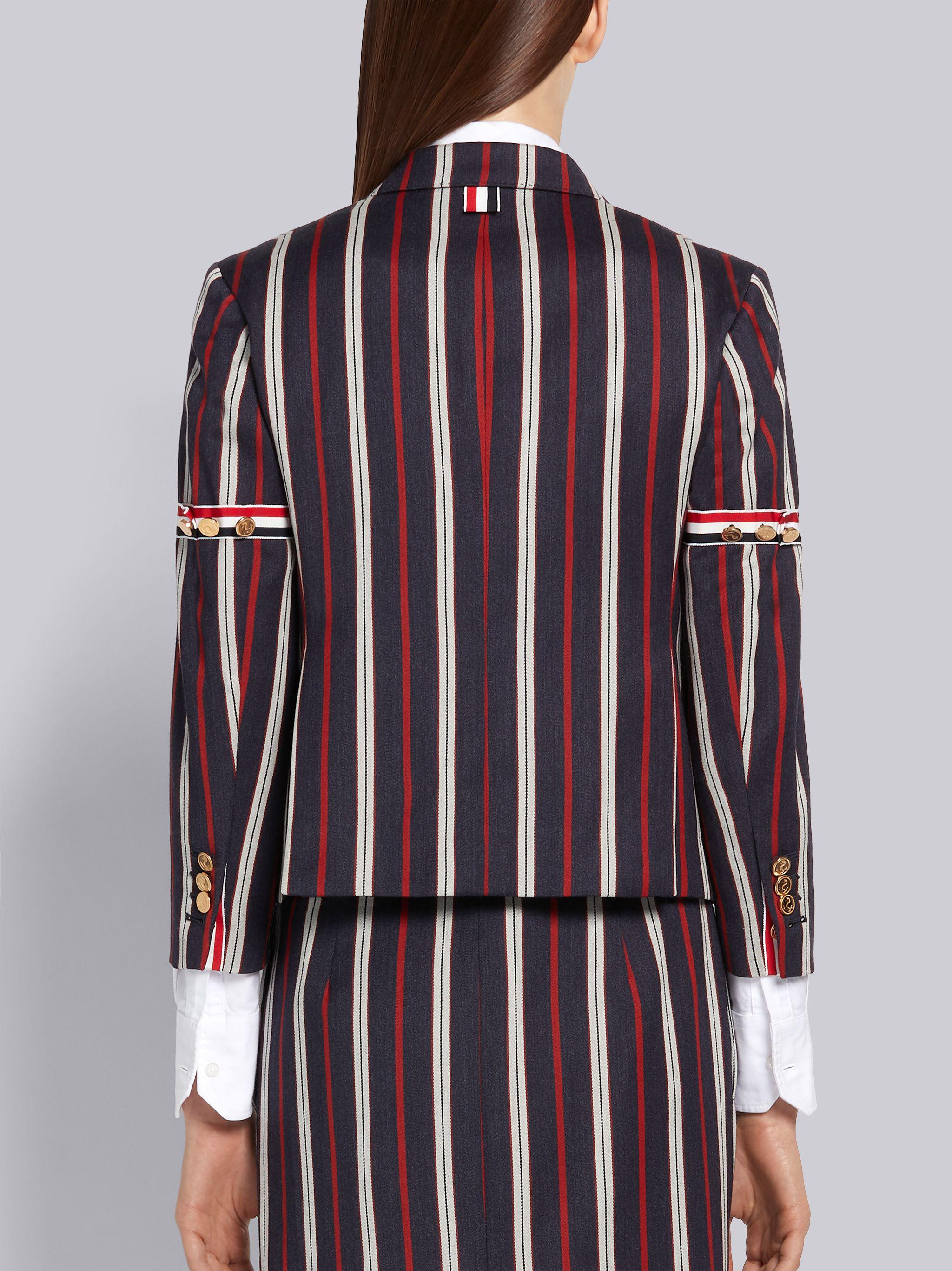 Multi-Color Wool Cotton Suiting Variegated Rep Stripe High Armhole Jacket 2