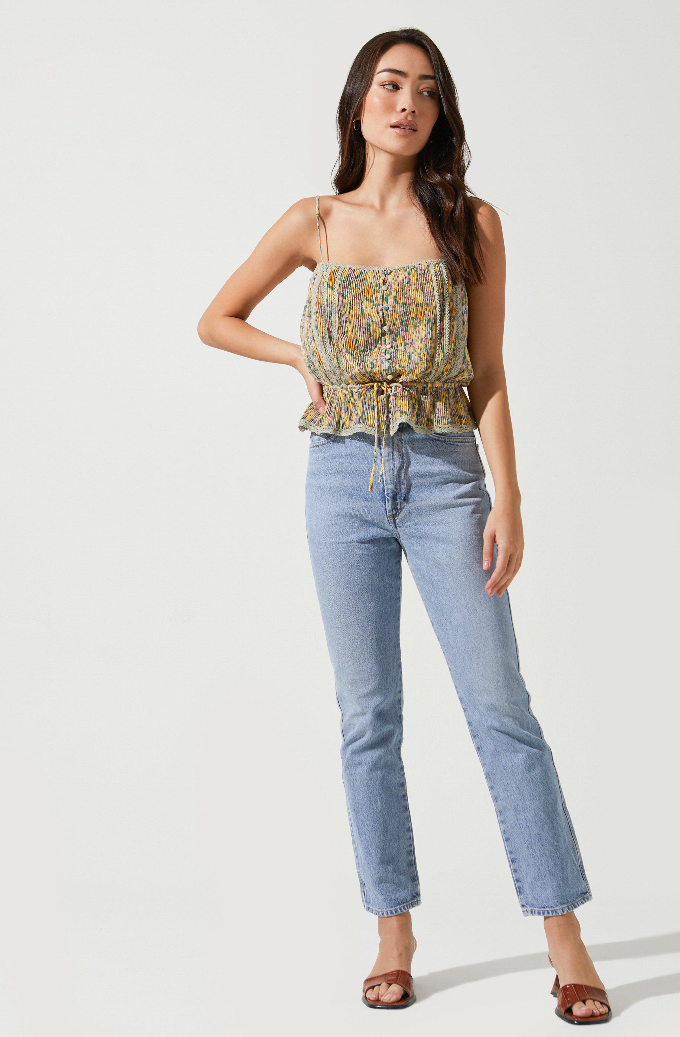 Flora Pleated Square Neck Top