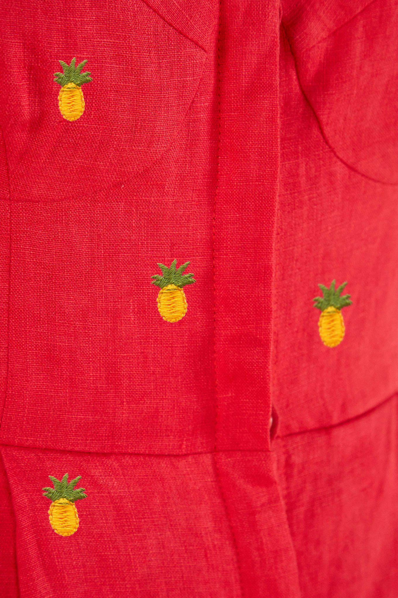 EMBROIDERED PINEAPPLES RED JUMPSUIT 5