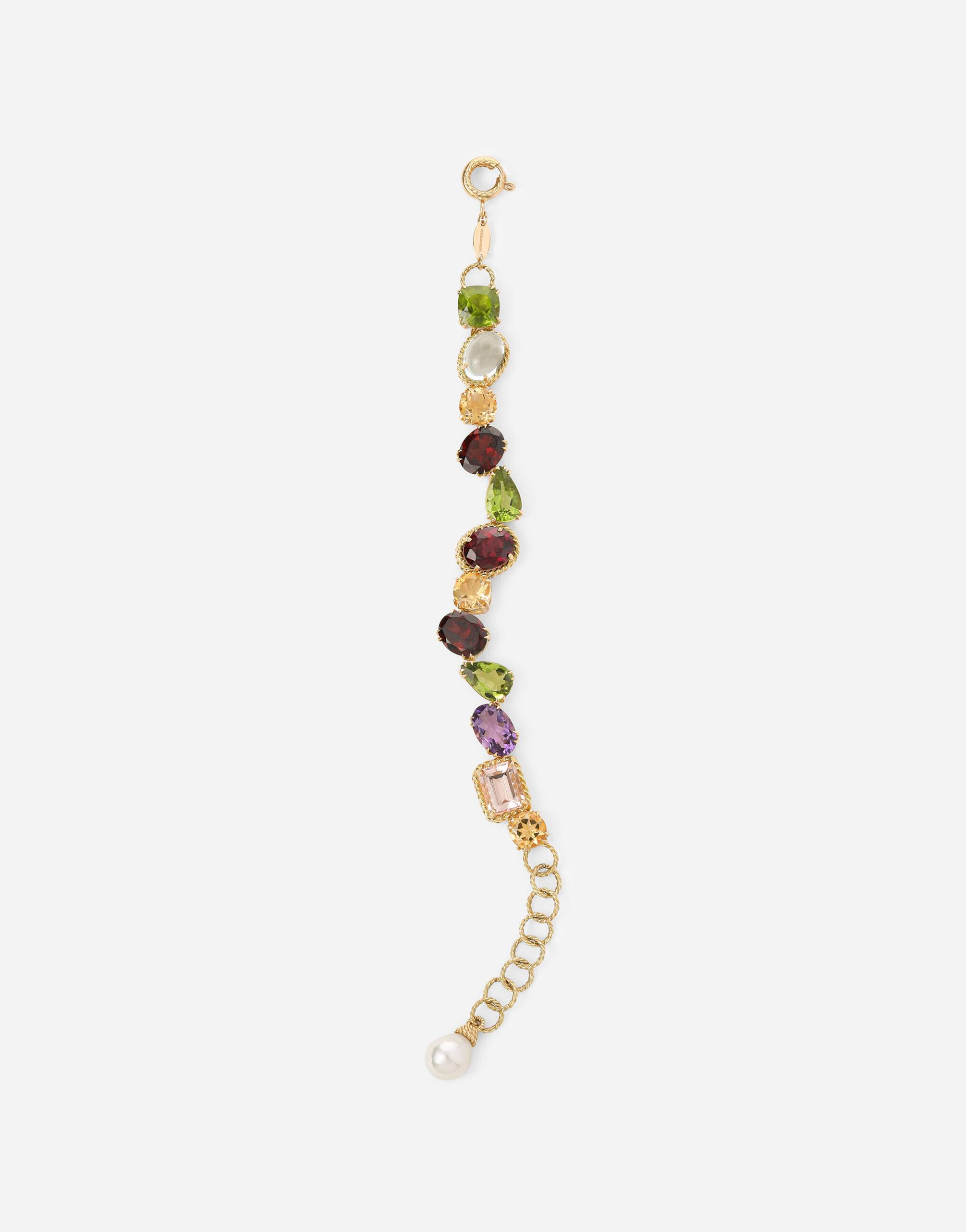 Anna bracelet in yellow 18kt gold with different multicolour gemstones