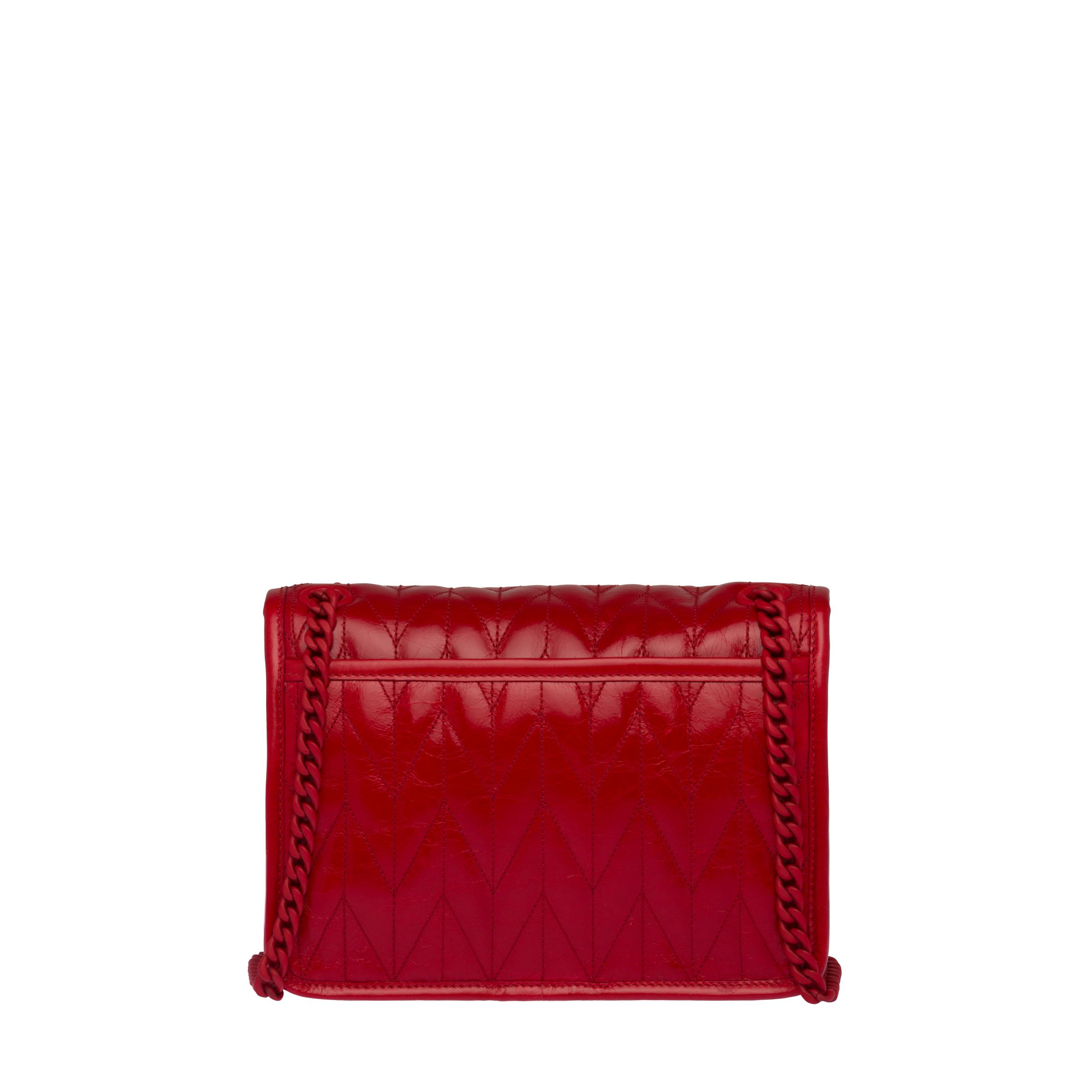 Quilted Shiny Leather Shoulder Bag Women Red 3