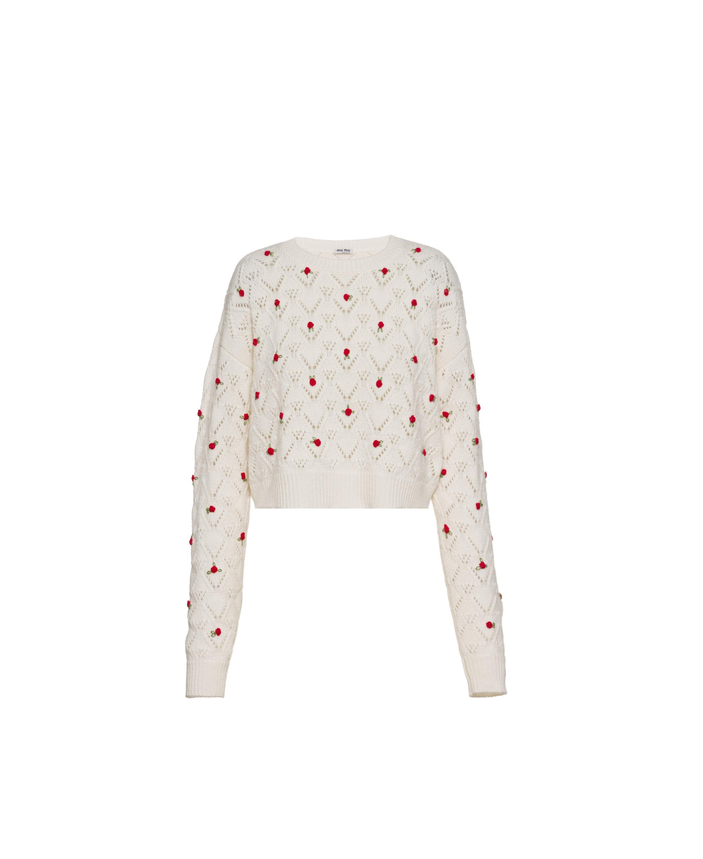 Embroidered Cashmere Sweater Women Milky White