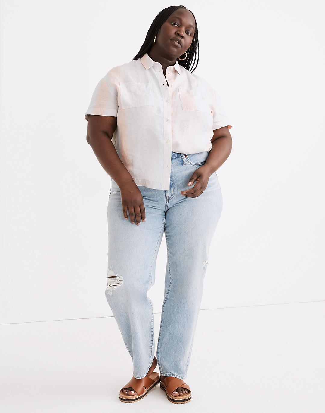 Plus Relaxed Jeans in Cresthaven Wash: Ripped Edition