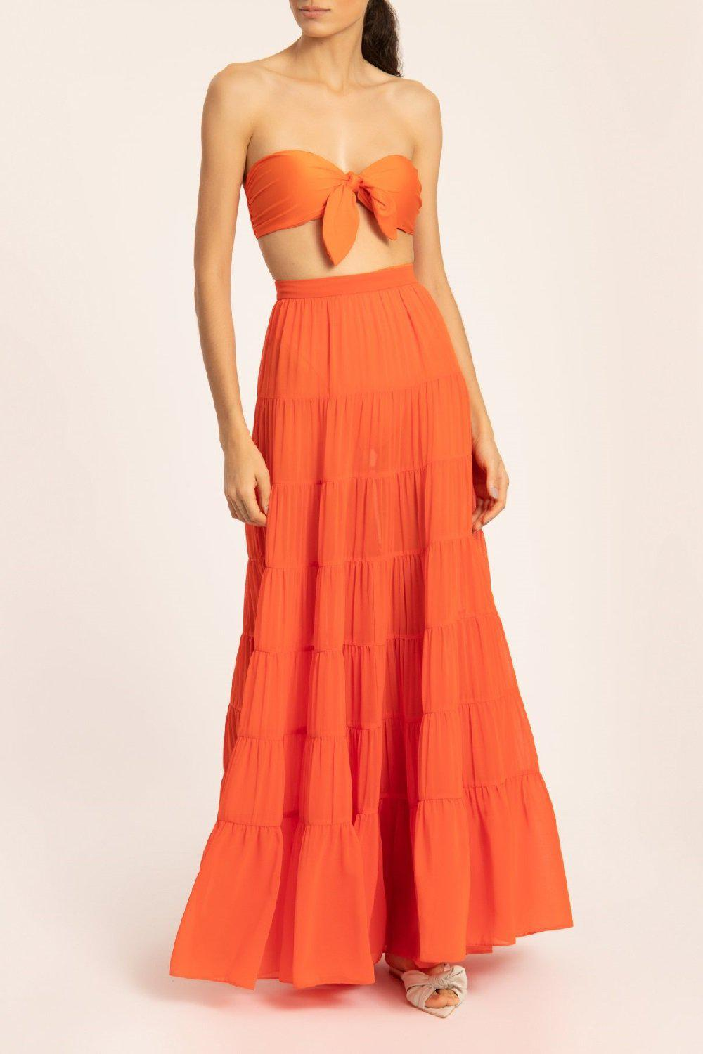 Solid Frilled Long Skirt