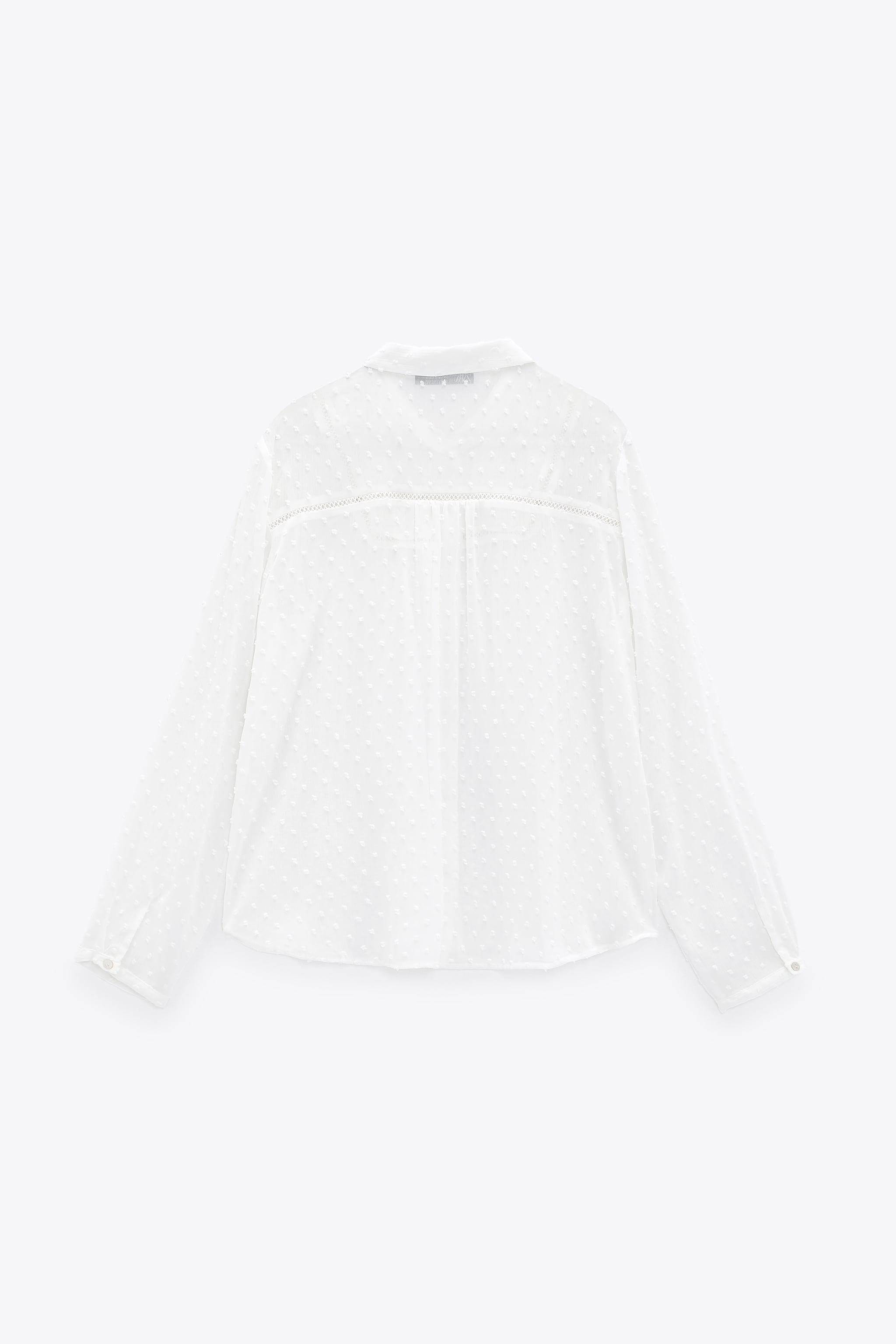 DOTTED MESH LACE INSERT SHIRT 5