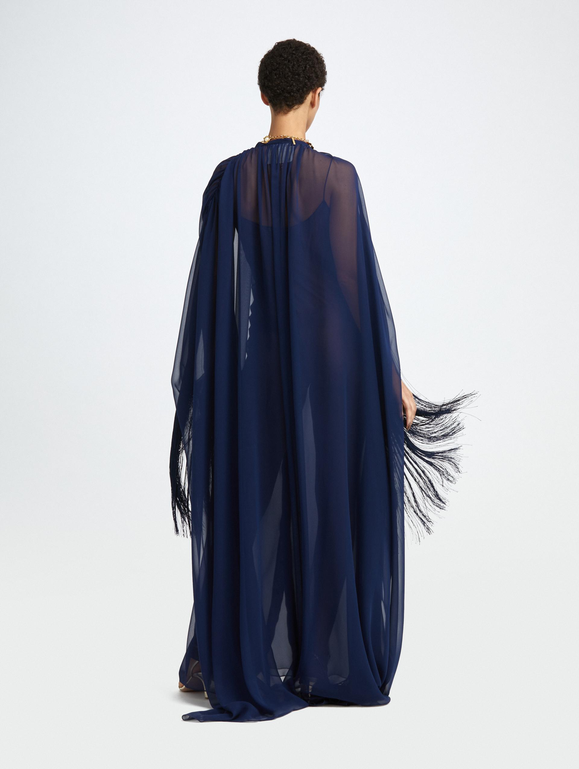 FRINGED BUTTON FRONT SILK CAFTAN 1
