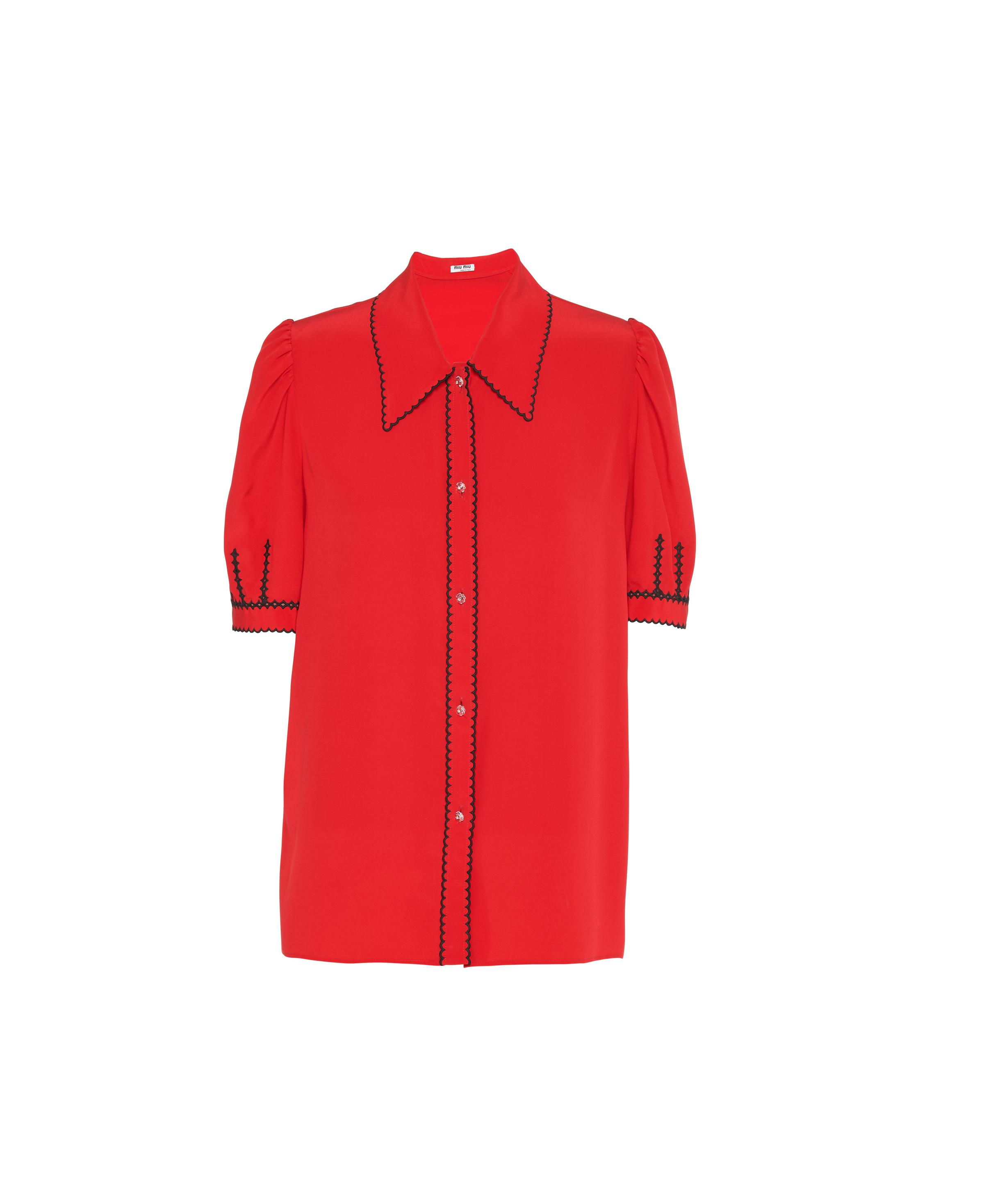 Embroidered Crepe De Chine Blouse Women Red