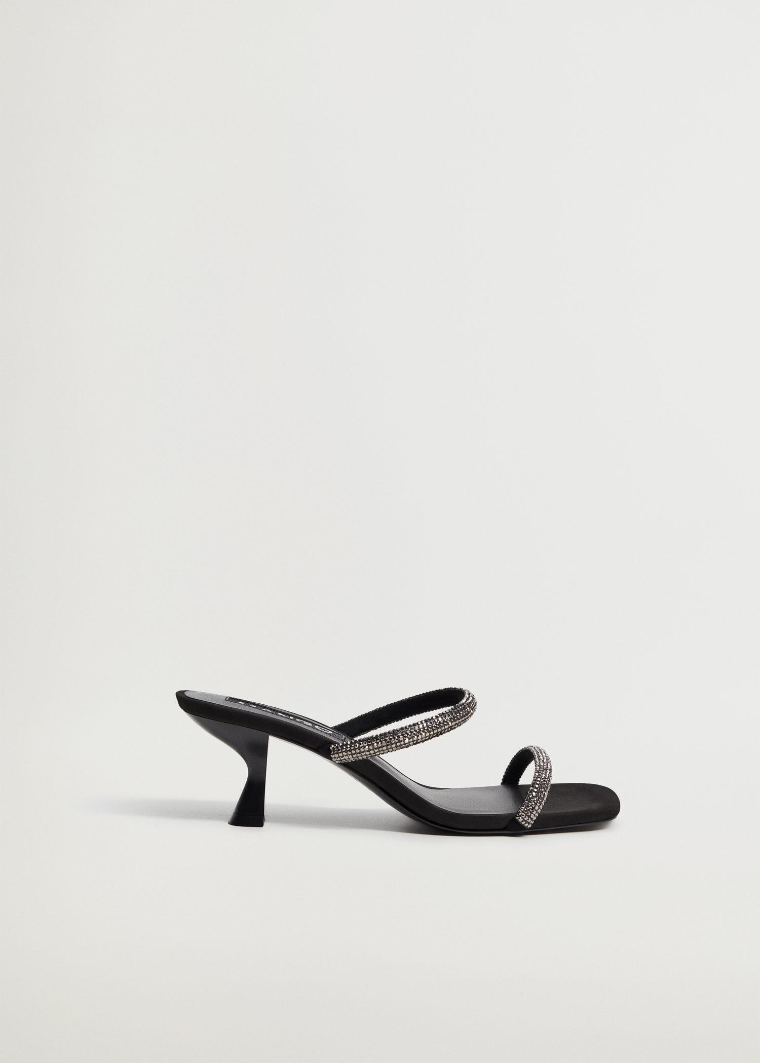 Leather sandals with strass straps