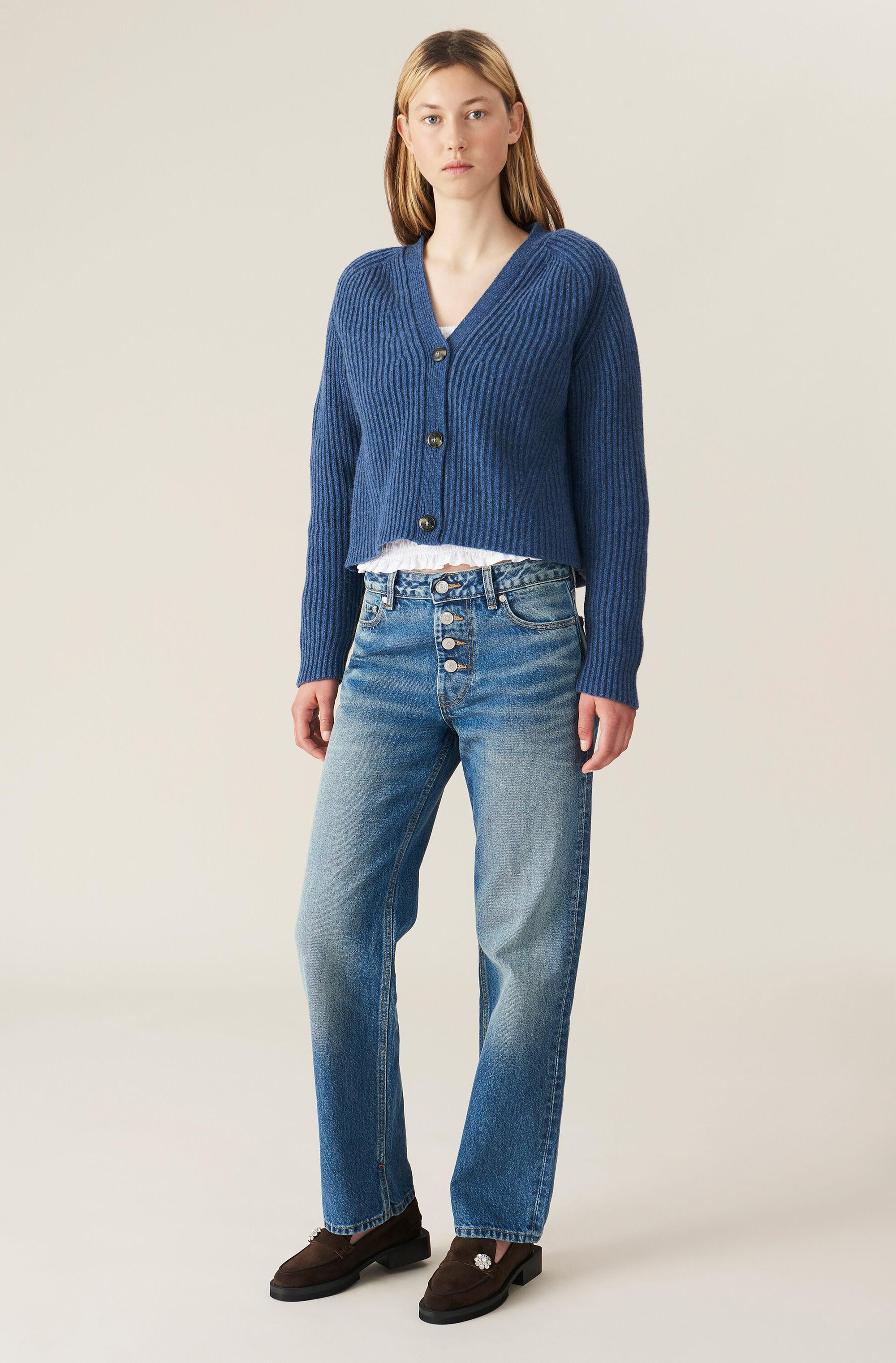 Washed Denim Mid-waist Relaxed Fit Jeans