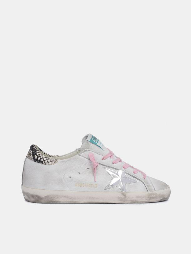 White Super-Star sneakers with snake-print heel tab