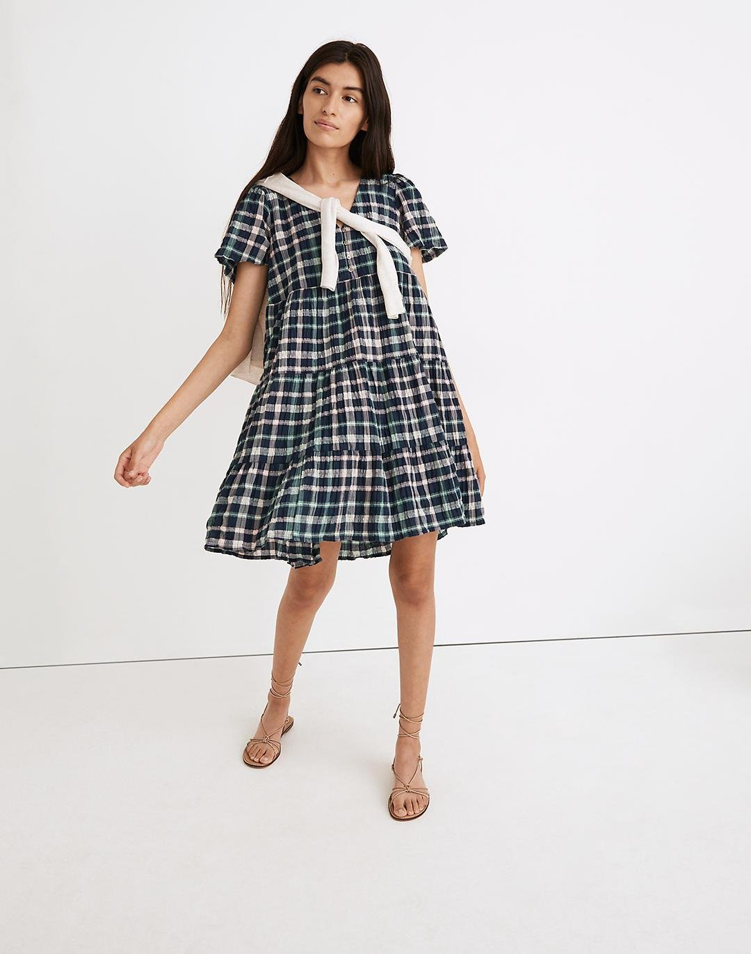Plaid Button-Front Tiered Babydoll Dress